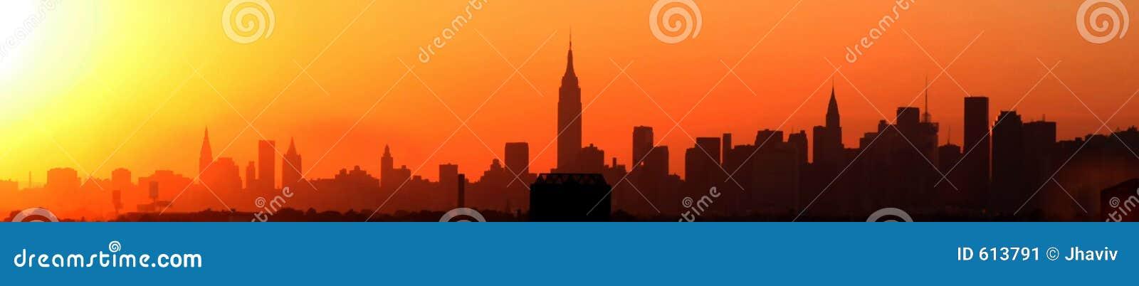 De Zonsondergang van New York