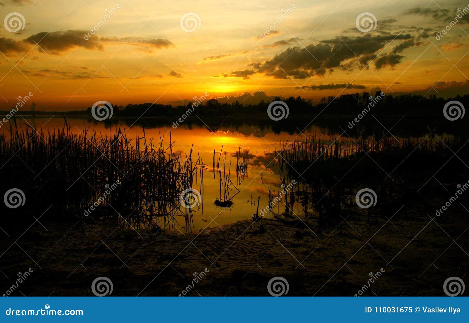 De zonsondergang van de de recente zomer rood-sinaasappel