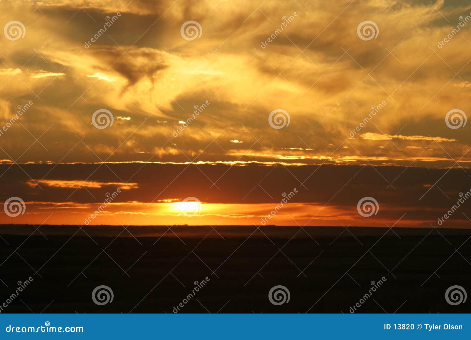 De Zonsondergang van Saskatchewan