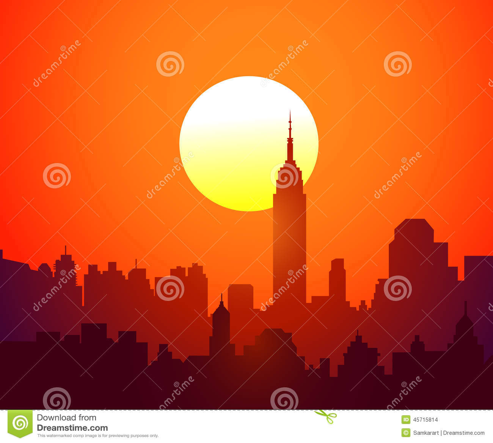 De Zonsondergang Vector Van New York Vector Illustratie