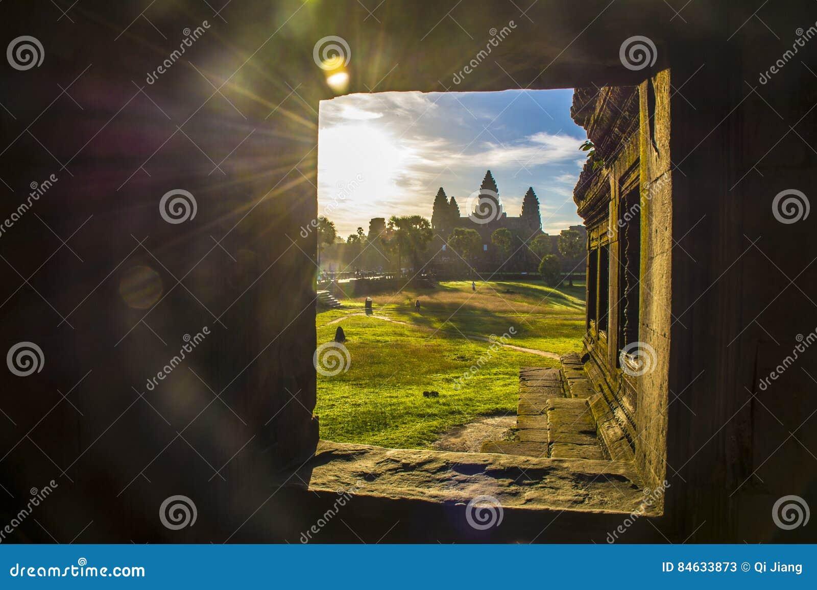 De zonsopgang van Angkor Wat, Siem oogst, Kambodja