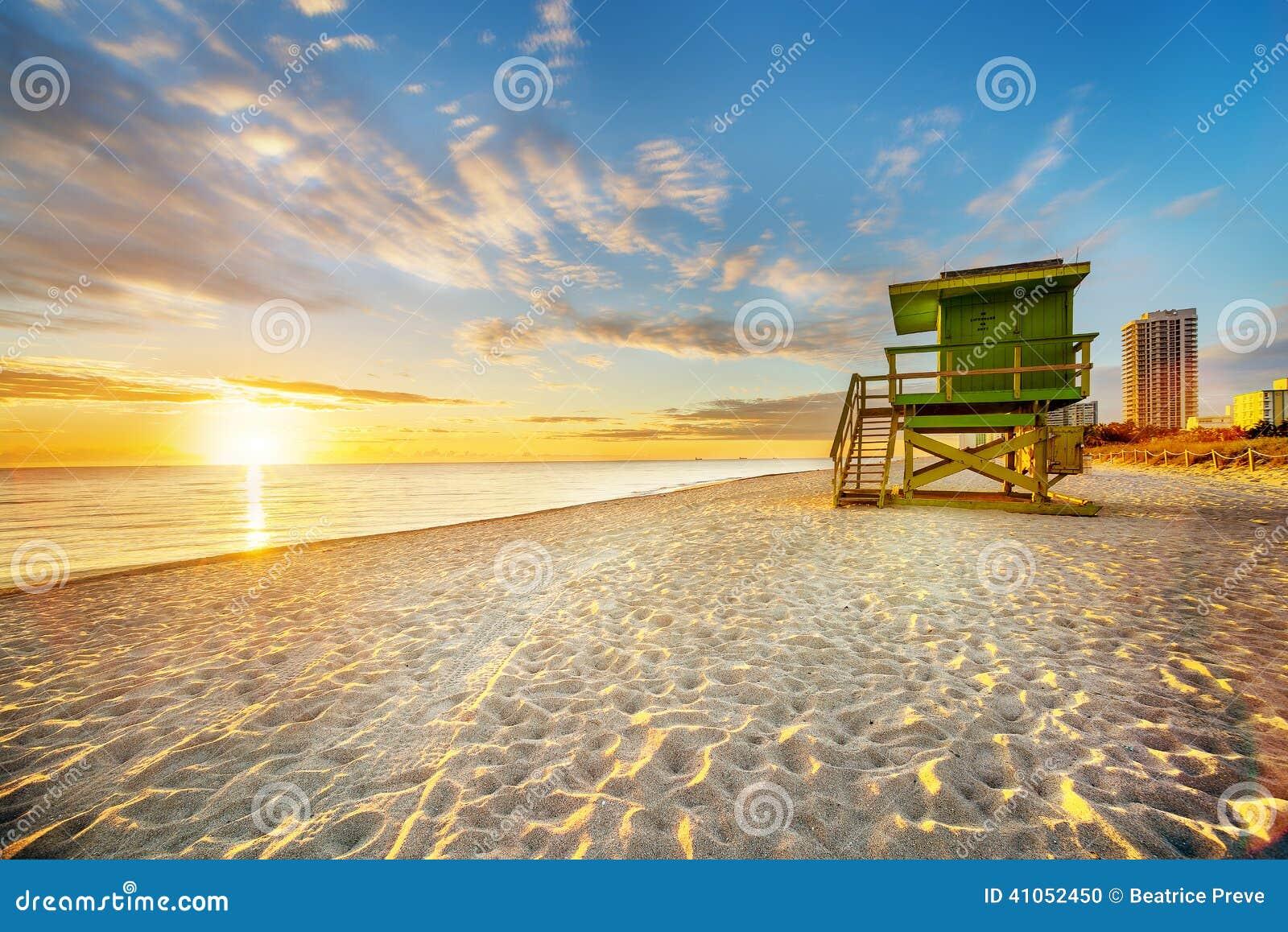 De zonsopgang van het het Zuidenstrand van Miami