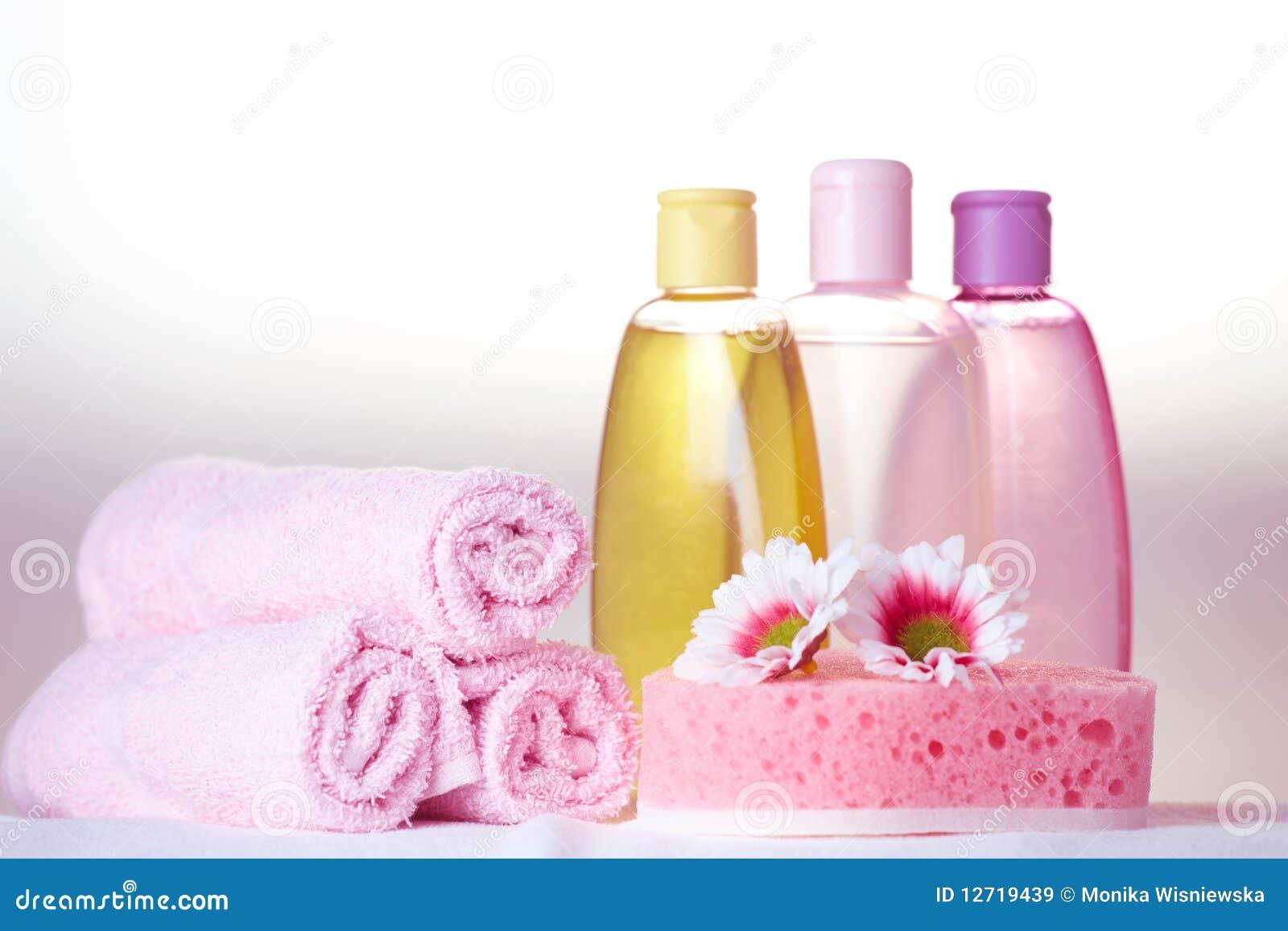 De zorgschoonheidsmiddelen van het bad