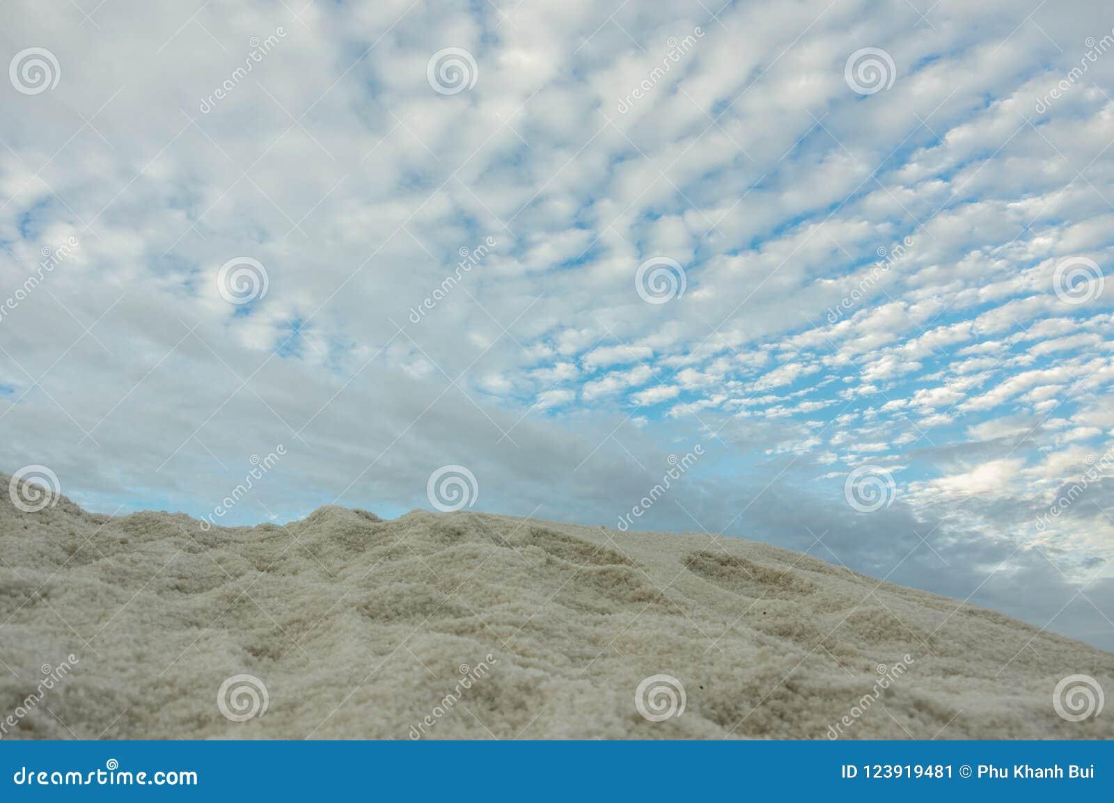 De zoute productie, zout verwerkte, zoute stapel