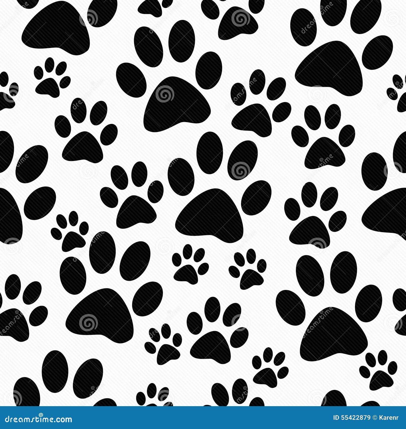 De zwart-witte Achtergrond van Hondpaw prints tile pattern repeat