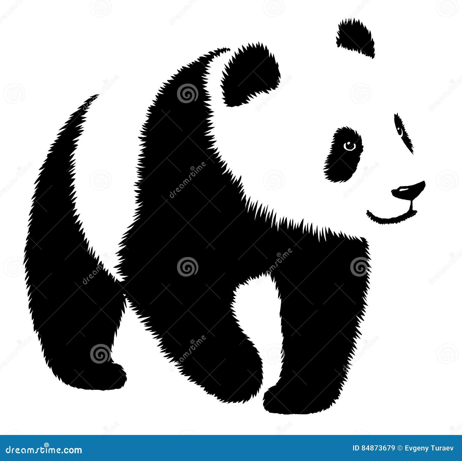 De zwart-witte lineaire verf trekt pandaillustratie