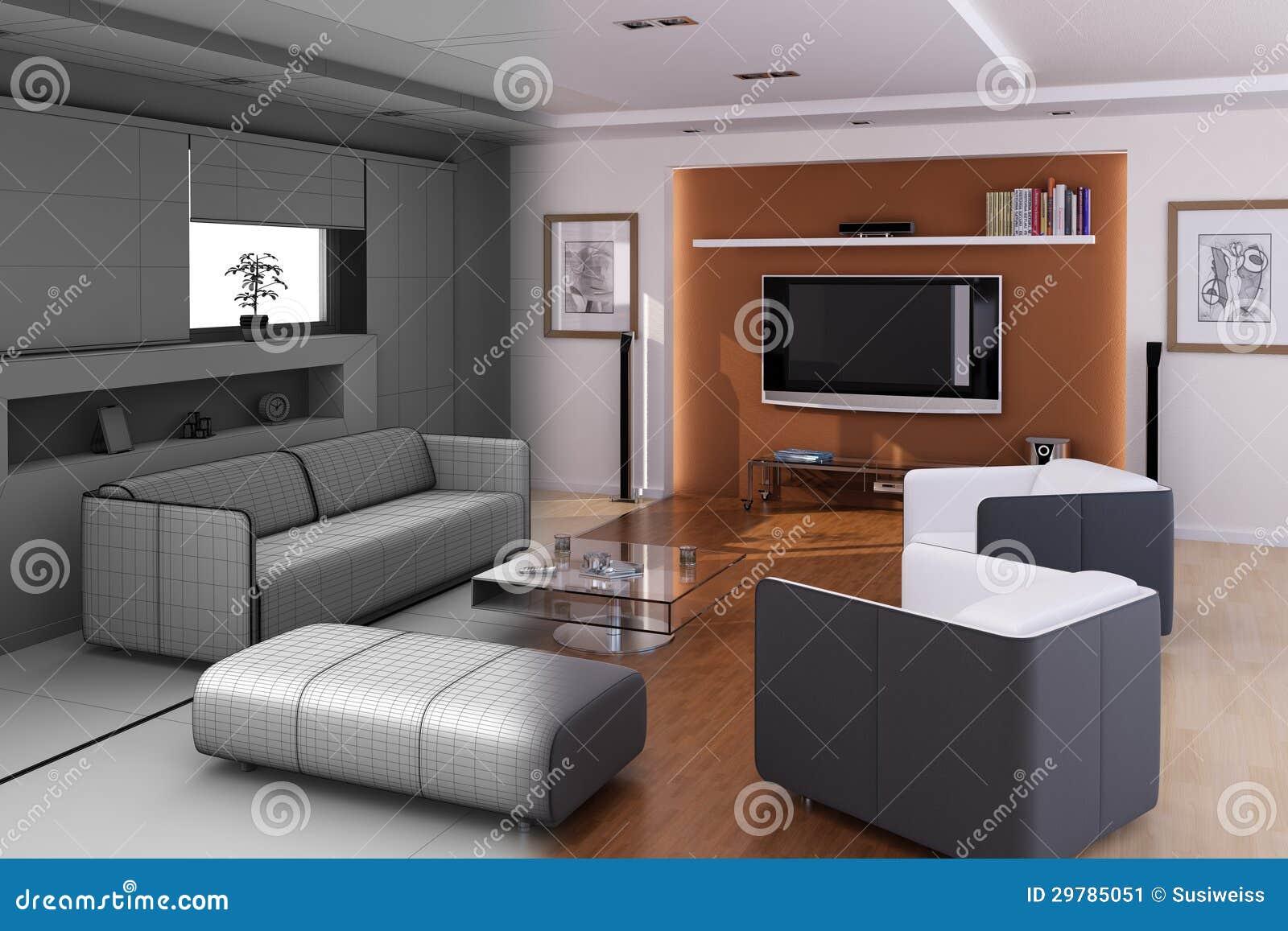 Minimalistisch de woonkamerbinnenland van de luxe stock illustratie afbeelding 29785051 - Ontwikkel een grote woonkamer ...