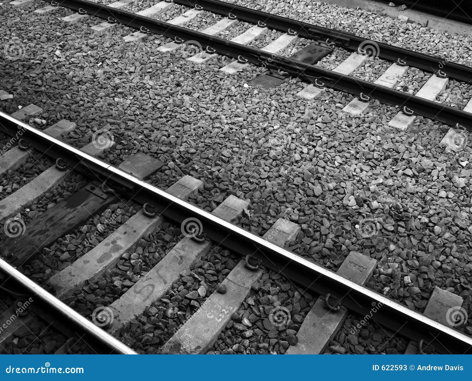 De zwart-witte Sporen van de Spoorweg