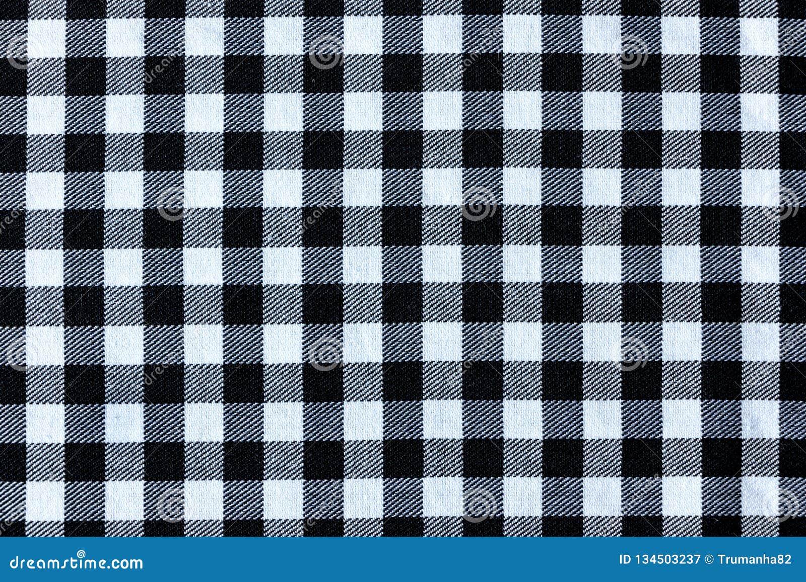 De zwart-witte Textuur van de Plaid Textielstof