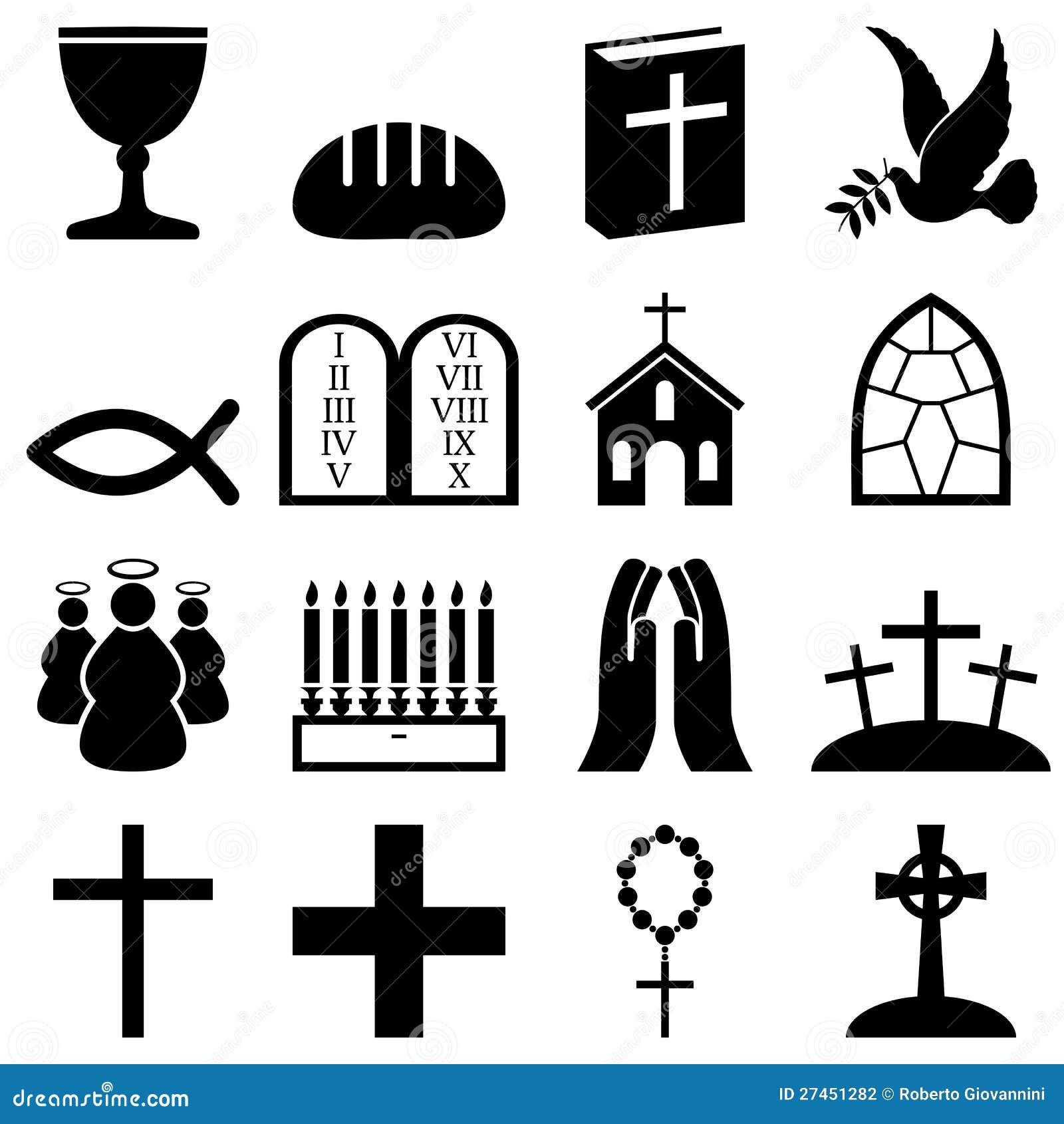 De Zwarte & Witte Pictogrammen van het christendom