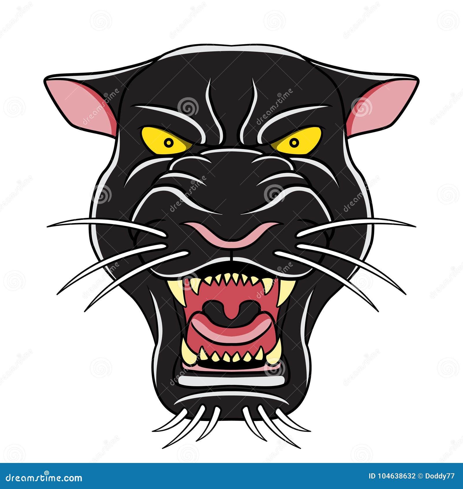 Download De Zwarte Hoofdillustratie Van Het Panterbeeldverhaal Stock Illustratie - Illustratie bestaande uit illustratie, gevaarlijk: 104638632