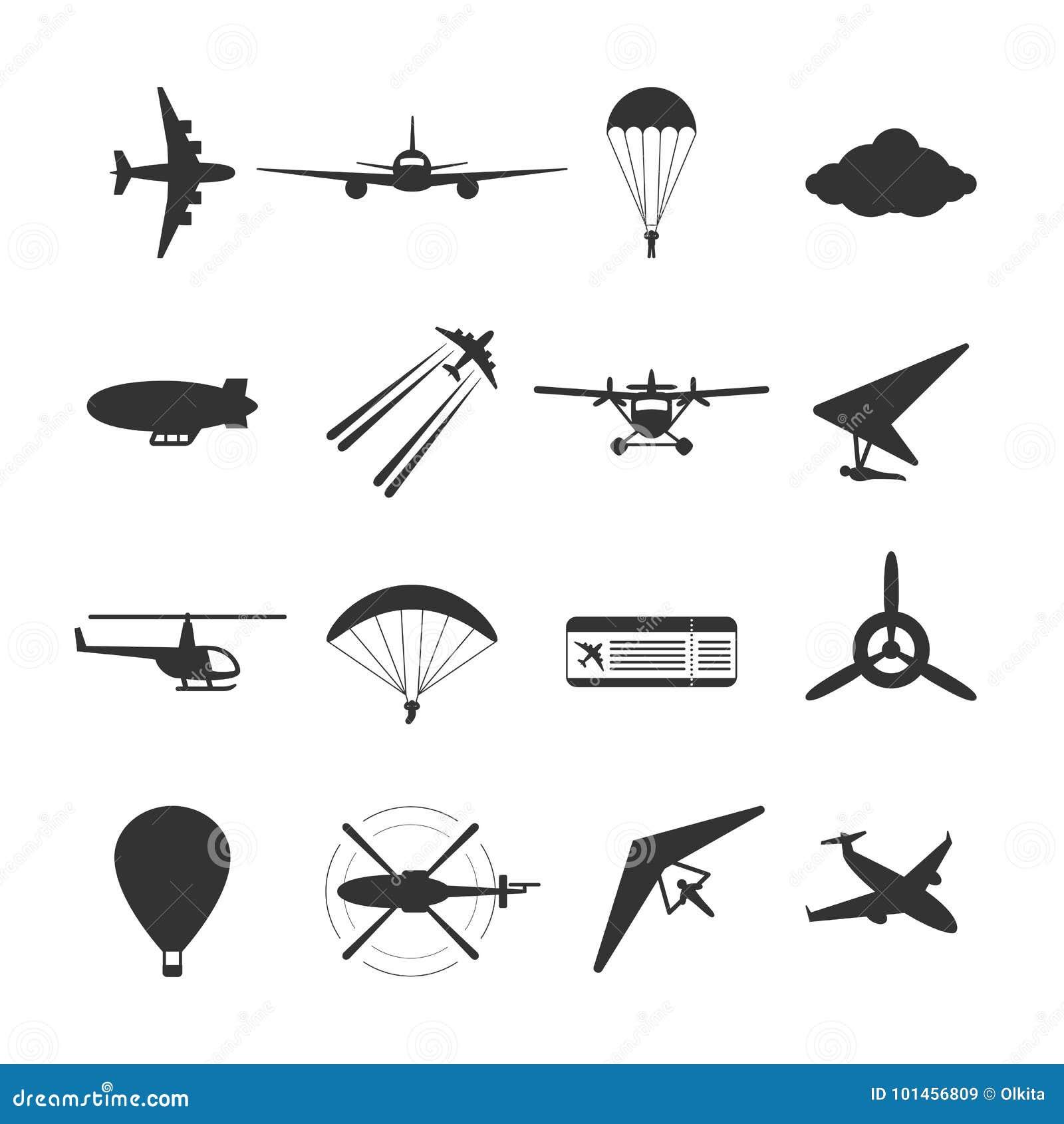 De zwarte isoleerde silhouet van hydroplane, vliegtuig, valscherm, helikopter, propeller, dirigible deltavlieger, paraglide, ball