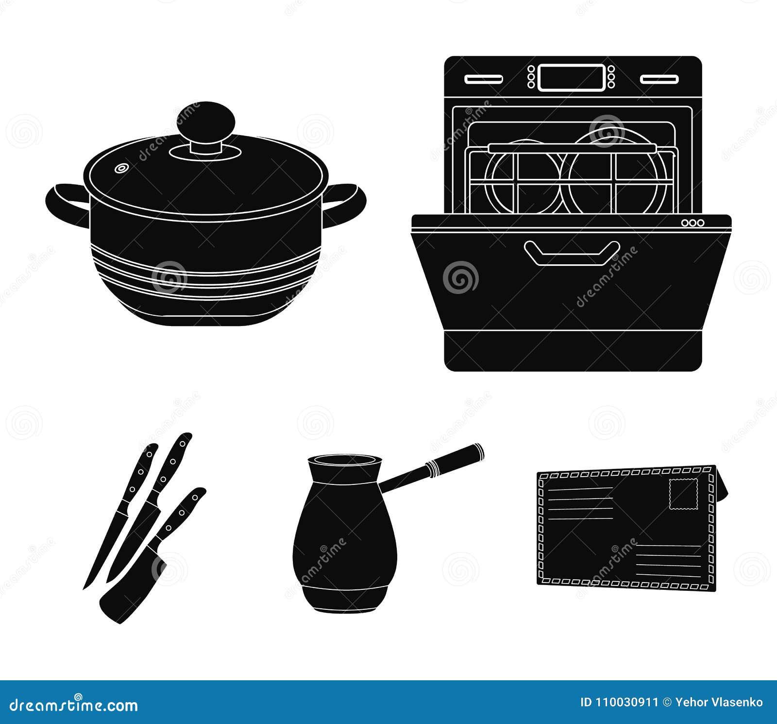 De zwarte pictogrammen van het keukenmateriaal in vastgestelde inzameling voor ontwerp Keuken en van het toebehoren de vectorsymb