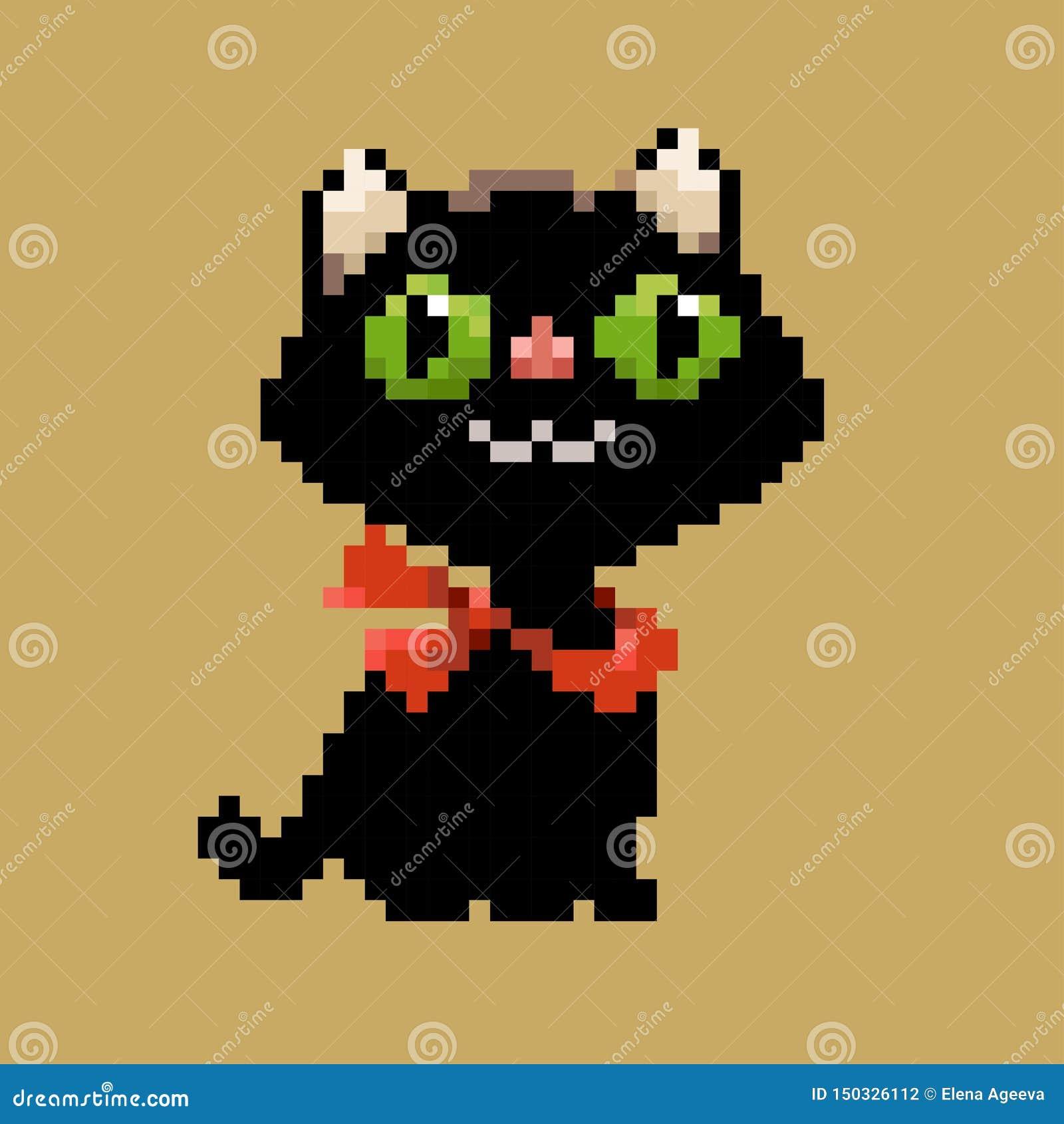 De zwarte vectorkat van de pixelkunst in rode sjaal