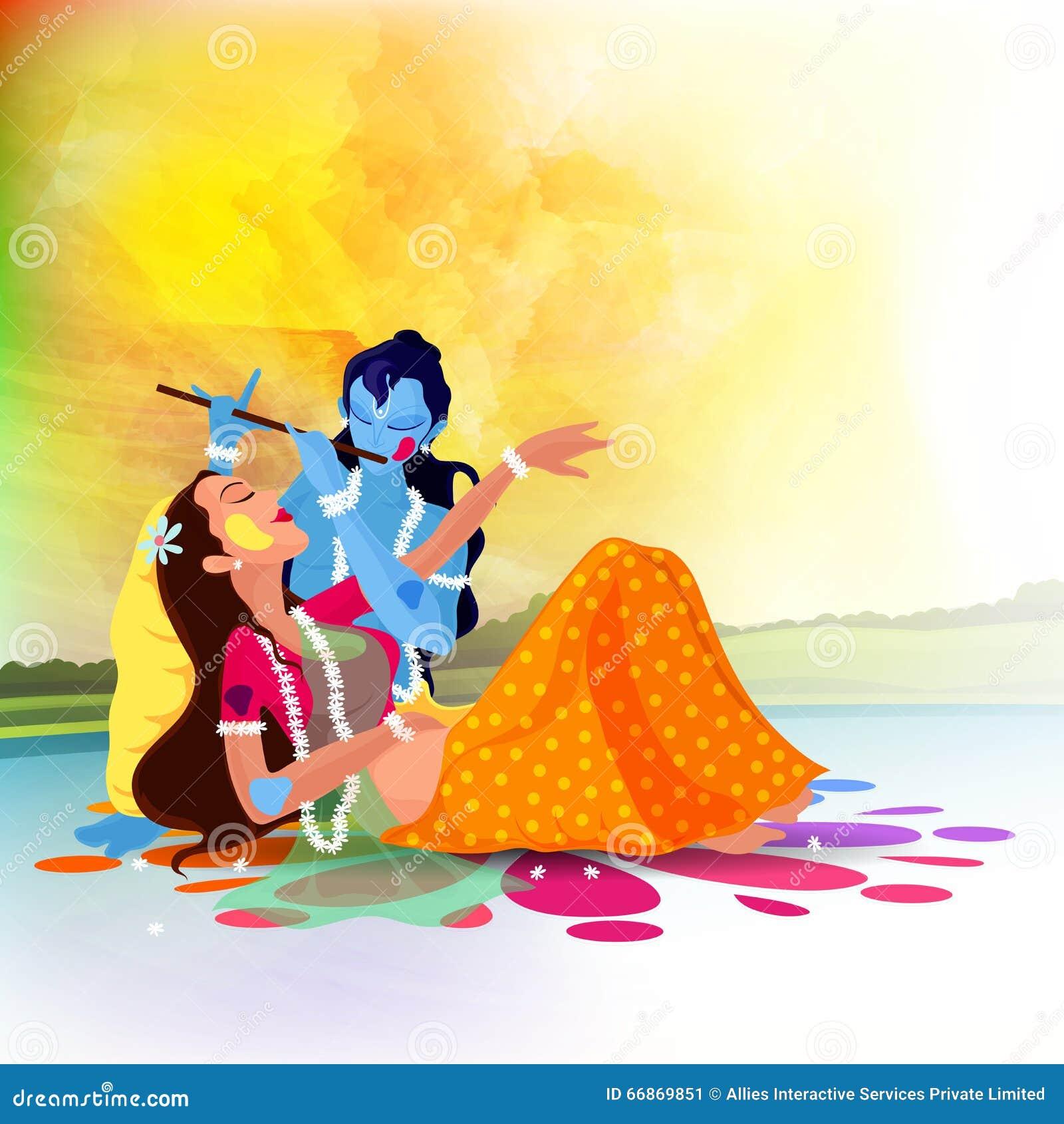 Dea Radha con Lord Krishna per la celebrazione di Holi