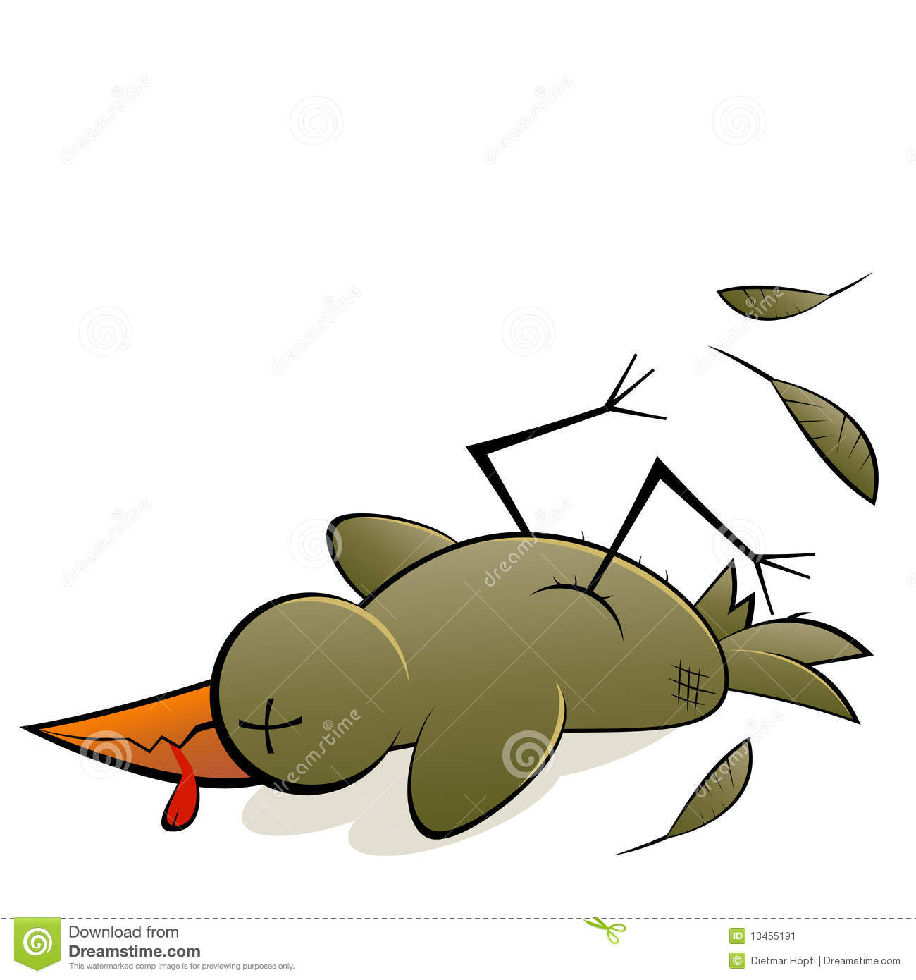 An illustrated cartoon of a dead bird, isolated on white background.