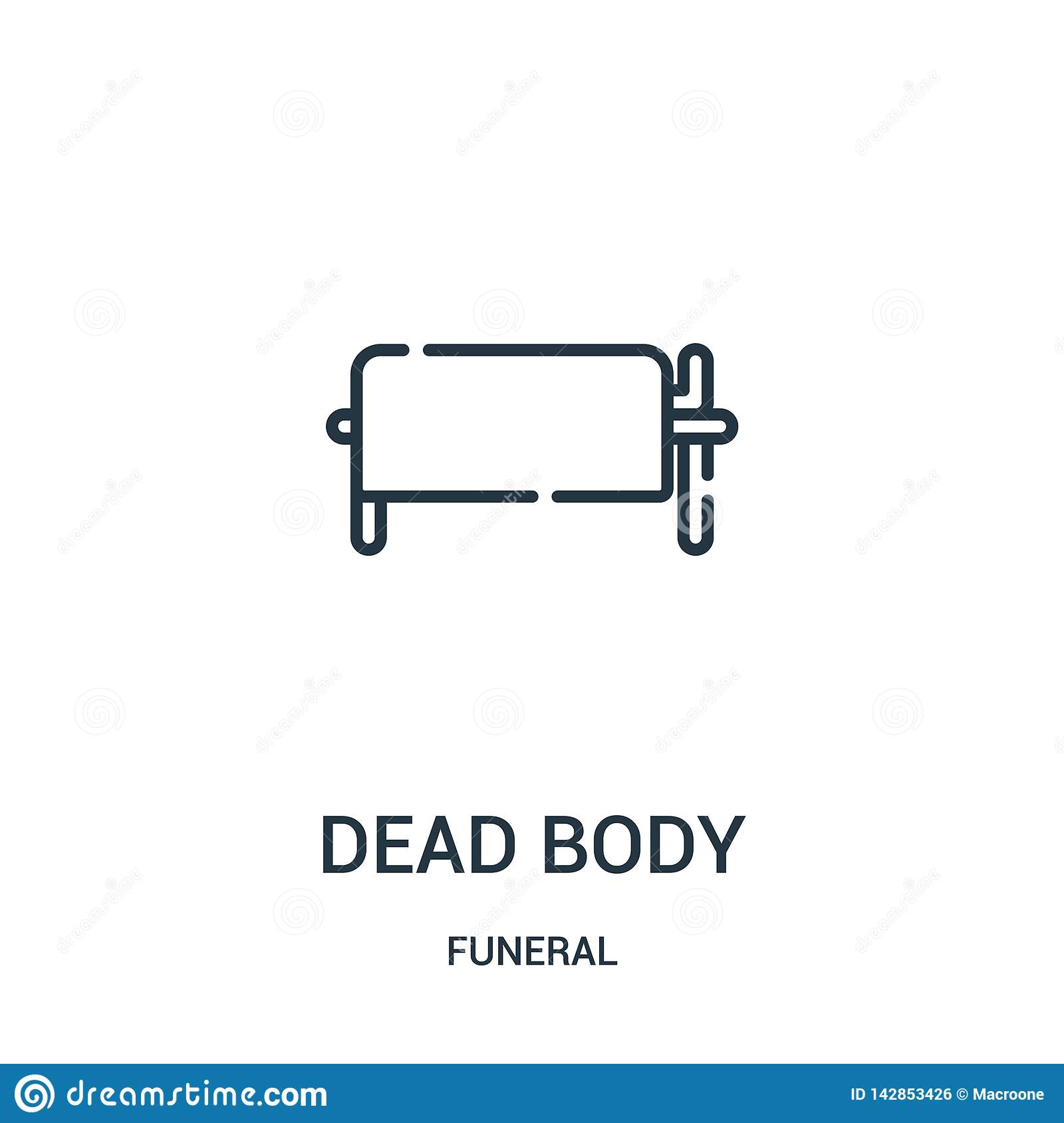 dead body icon vector from funeral collection. Thin line dead body outline icon vector illustration. Linear symbol for use on web