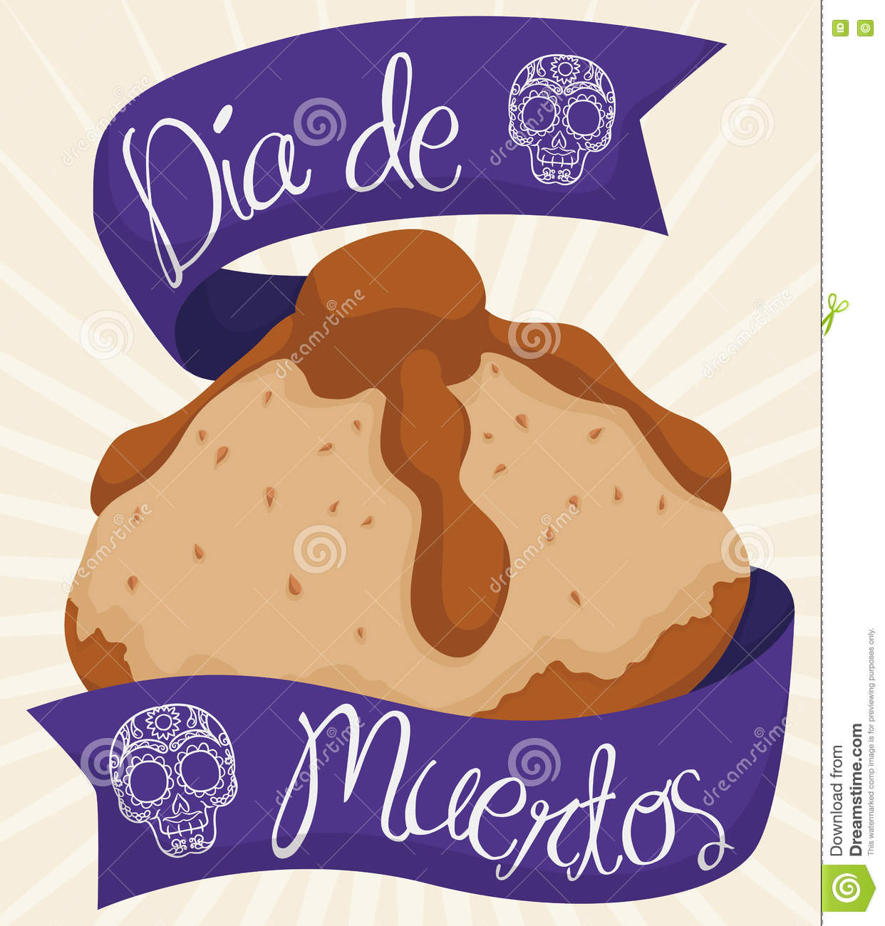 Dead bread with greetings ribbons celebrating dia de muertos bread of the dead to celebrate mexican dia de muertos translate from spanish day of the dead with purple ribbons around it and traditional skulls m4hsunfo
