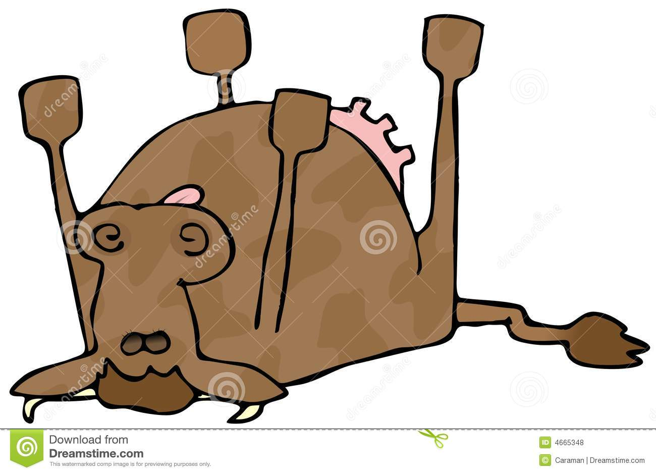 Dead Cow Stock Illustration. Image Of Tongue, Deceased