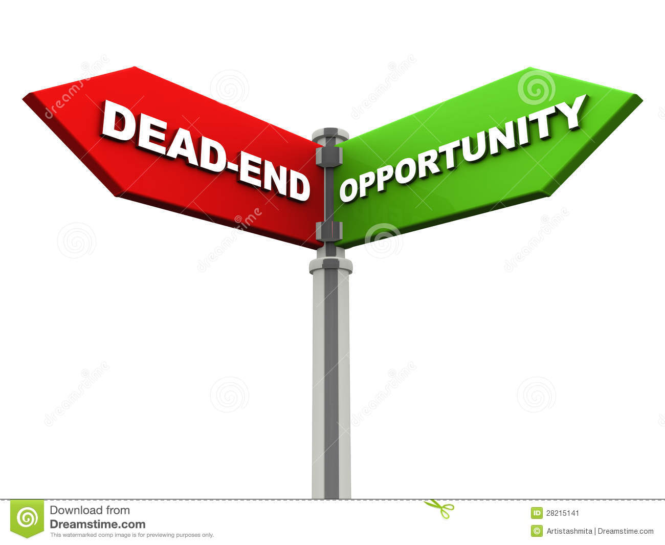 Dead end on one side with opportunity on another direction, chrome ...