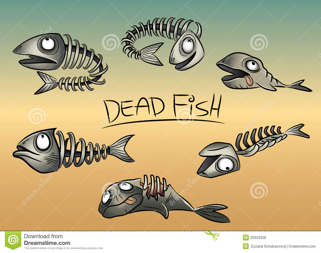 Dead Fish Leftovers Illustration Royalty Free Stock Image - Image ...