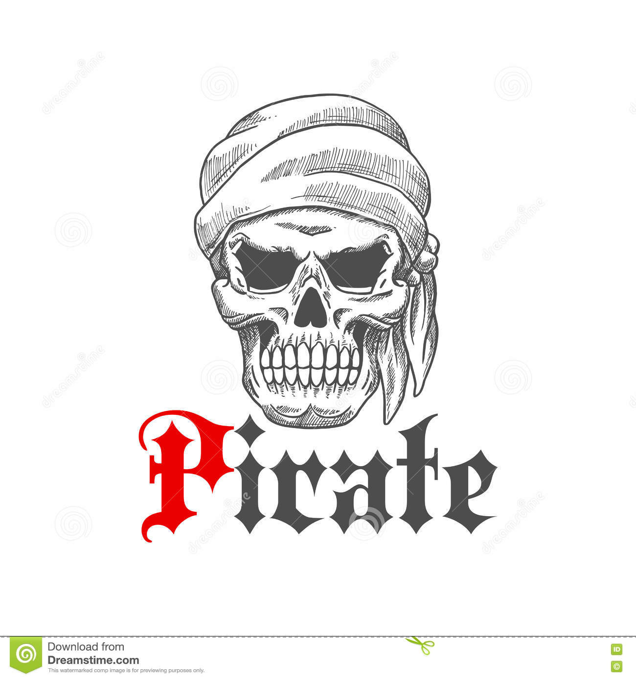 Evil Pirate Skull Tattoo