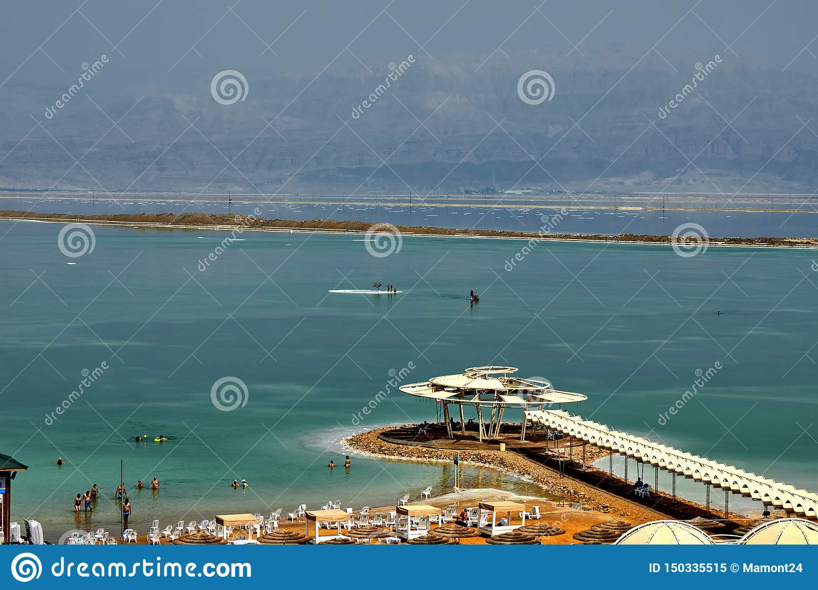 Dead Sea, is a salt lake bordering Jordan to the north, and Israel to the west