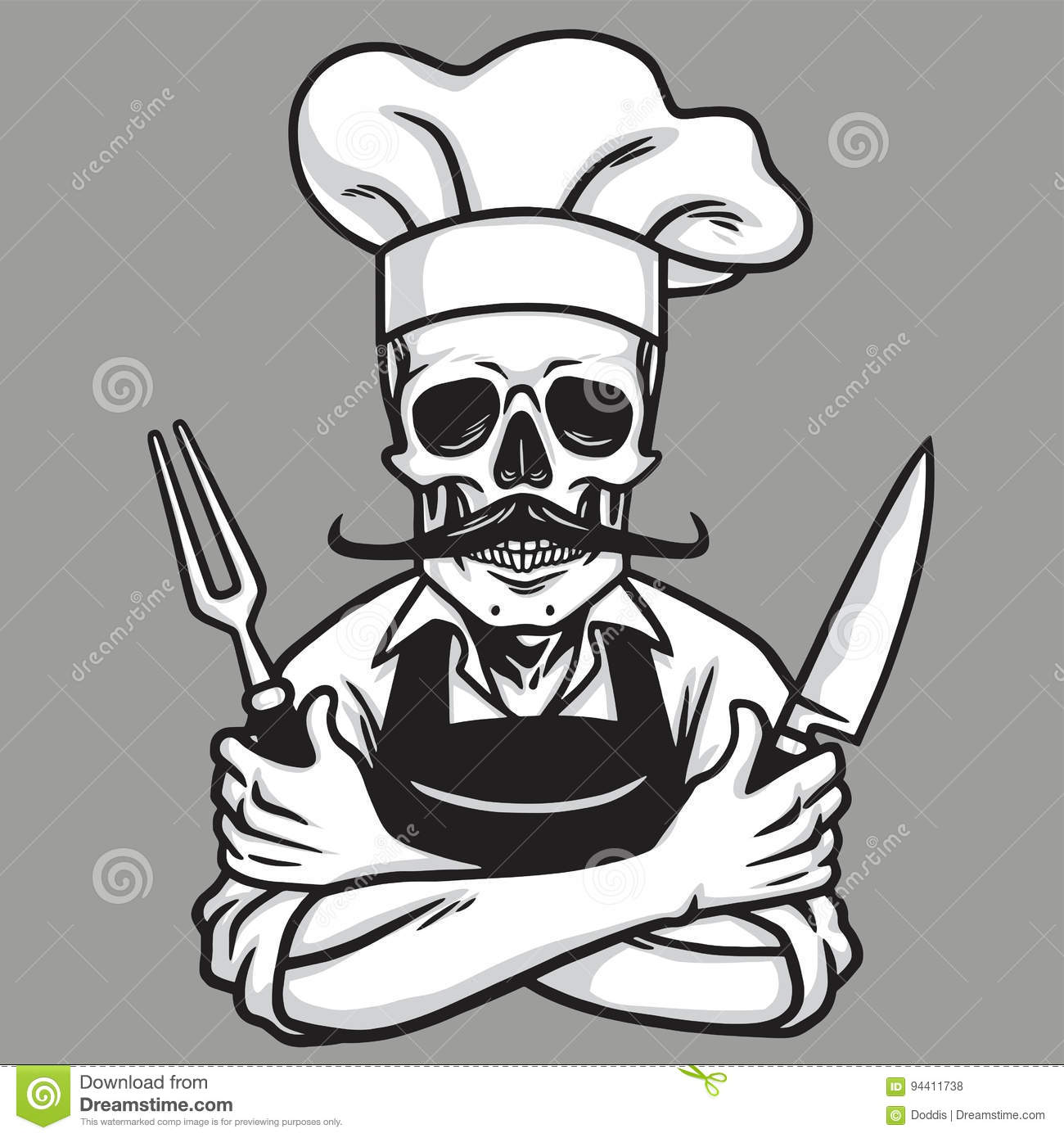 dead skull chef grinning with fork knive and hat vector drawing stock vector image 94411738. Black Bedroom Furniture Sets. Home Design Ideas