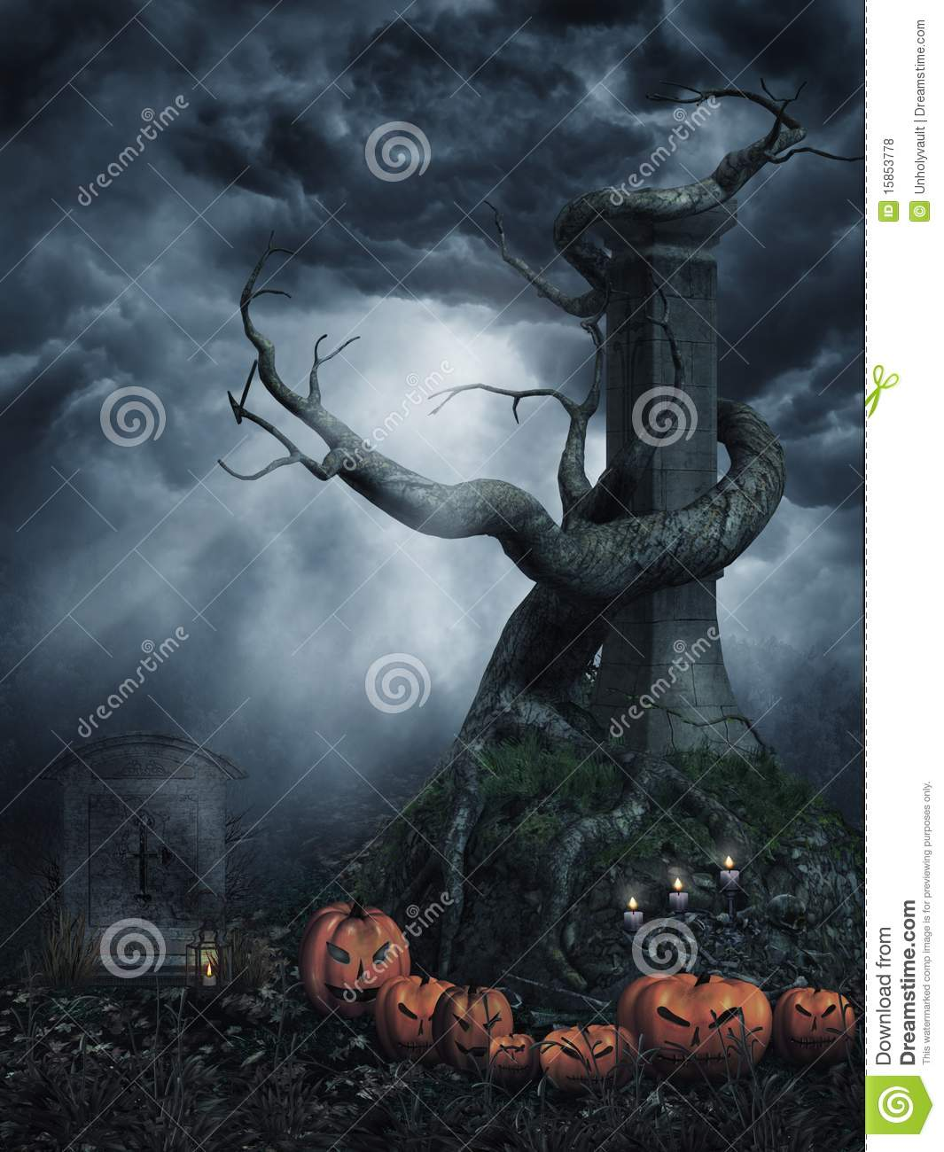 Dead tree with pumpkins