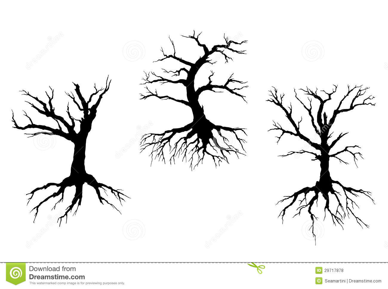 Dead trees with stem and roots  Tree With Roots Clipart Outline