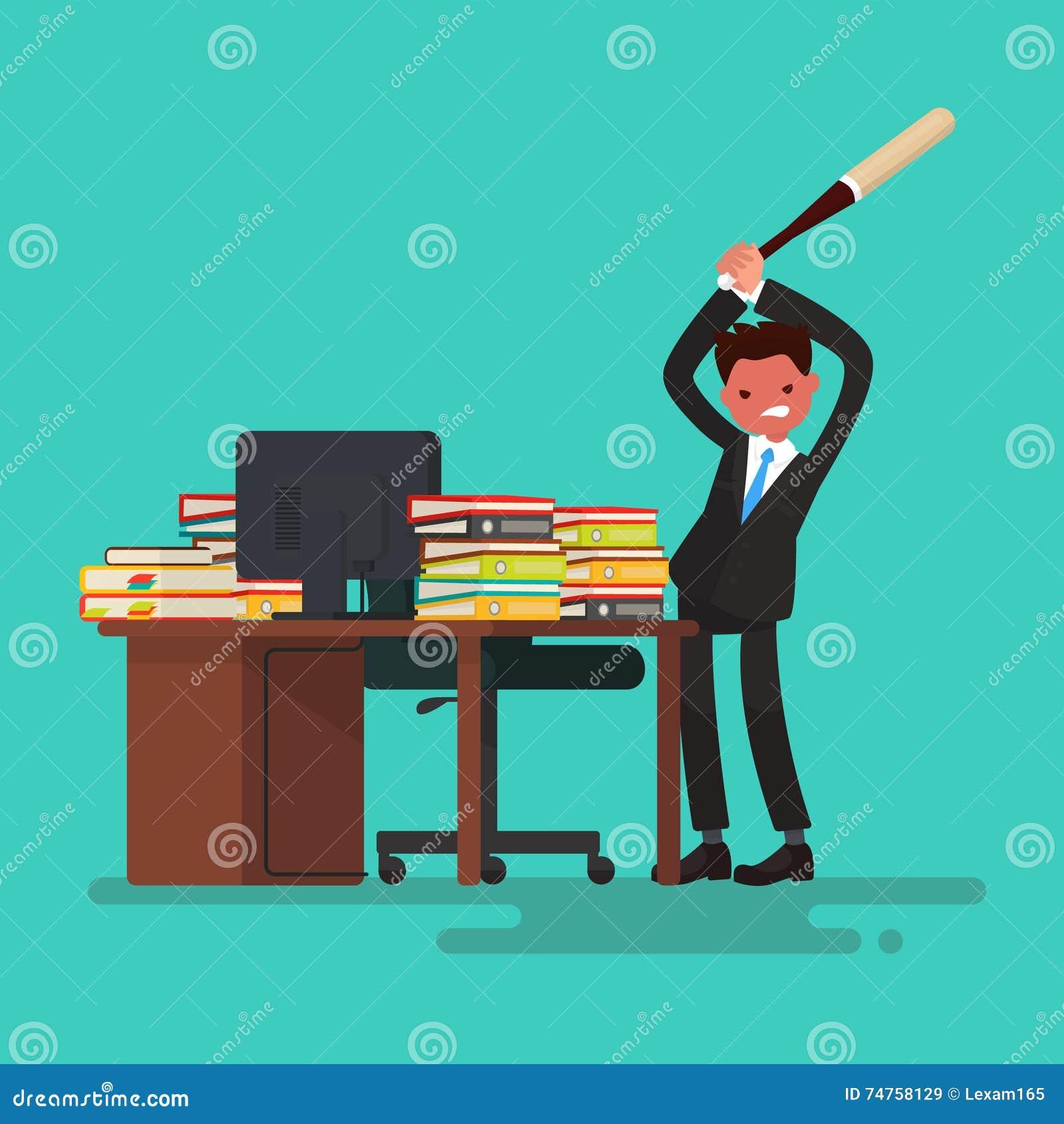 Deadline Сердитый работник ломает стол засорянный с документами