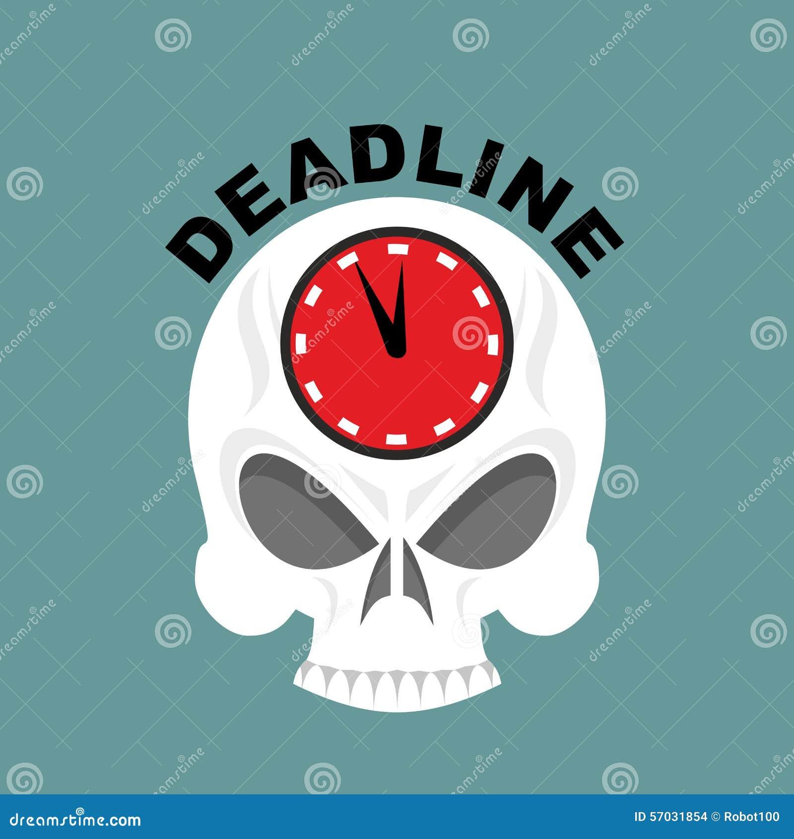 Deadline Череп с часами достаточно не приурочивают Illustrati вектора