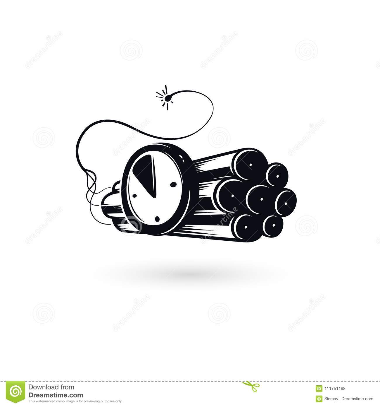 Deadline Concept Logo Countdown Vector Emblem Stock Fuse Box Icons Dynamite Icon With Watch Timer And Burning Large Explosive Charge Tnt Symbol