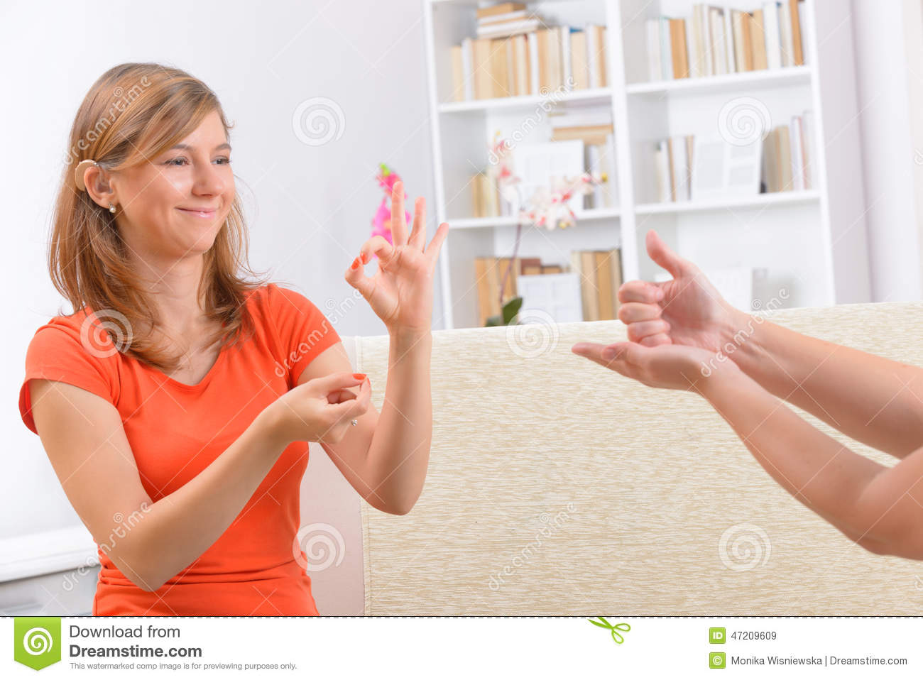 Deaf woman learning sign language