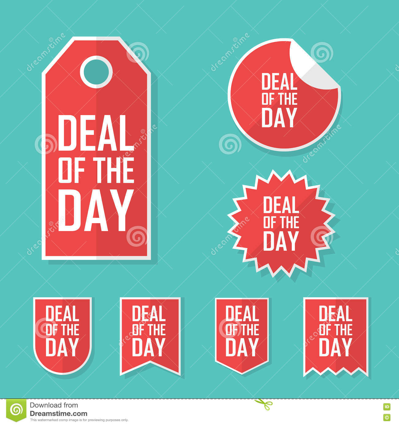 Deal Of The Day Sale Sticker. Modern Flat Design, Red Color Tag ...