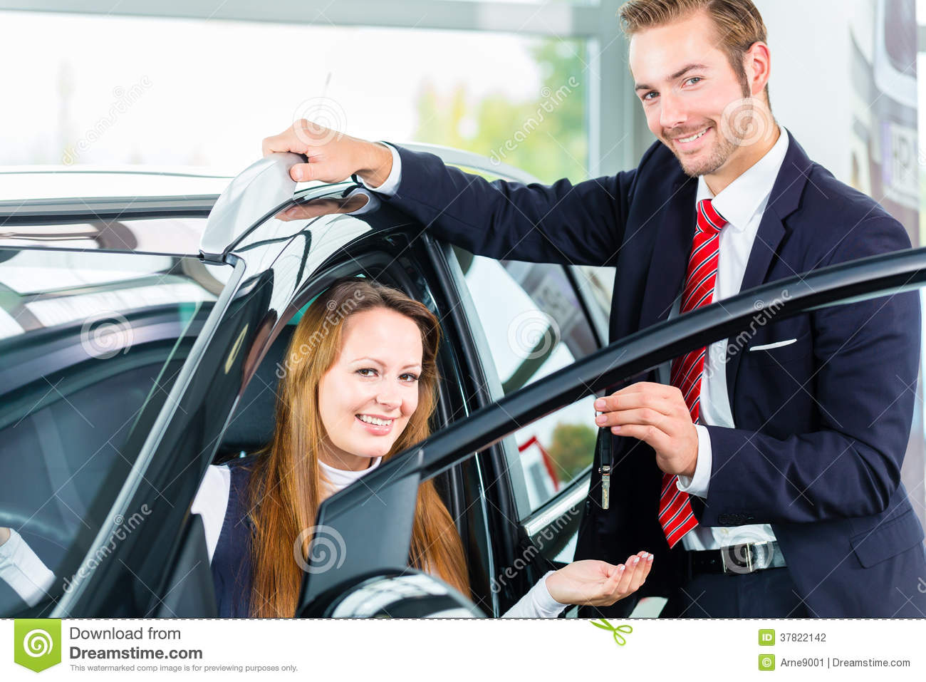 Dealer Female Client And Auto In Car Dealership Stock Photo Image