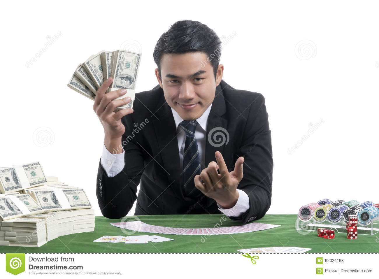 The dealer man trigeer finger invite to a gambler and show a lot