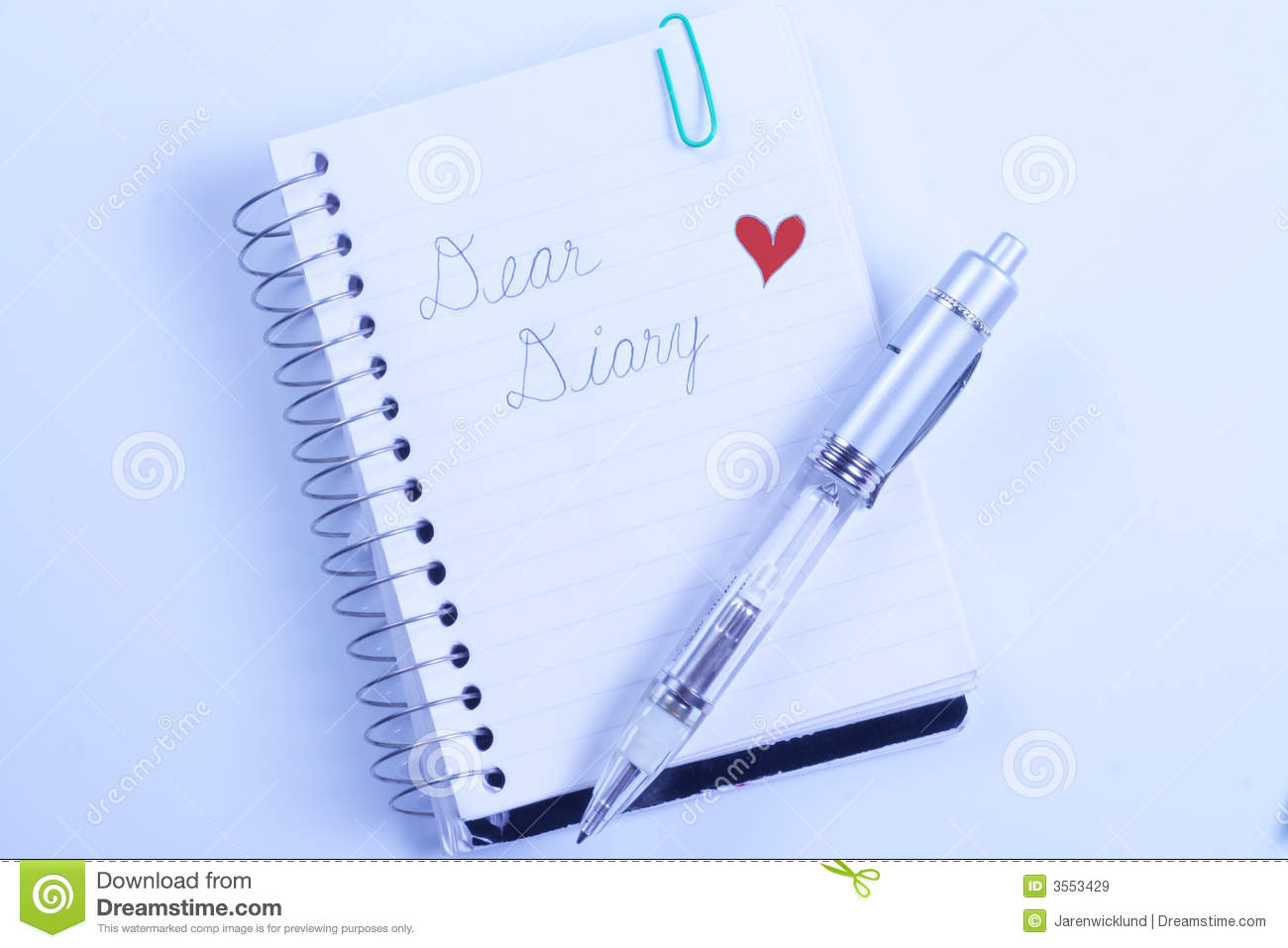 Dear Diary With Pen Stock Image Image Of Written Notepad 3553429
