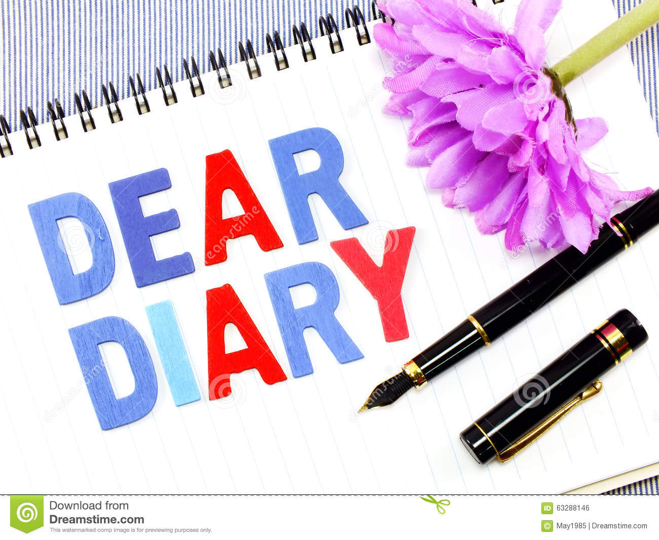dear diary word on white paper notebook background stock