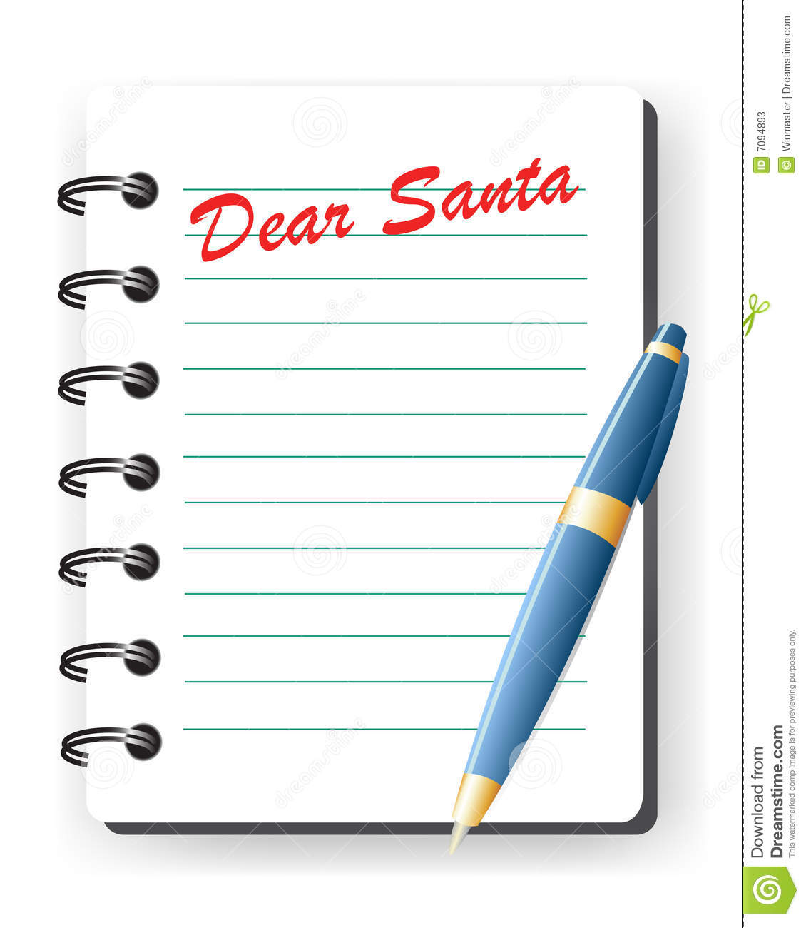 Dear Santa Letter Stock Vector Illustration Of Present