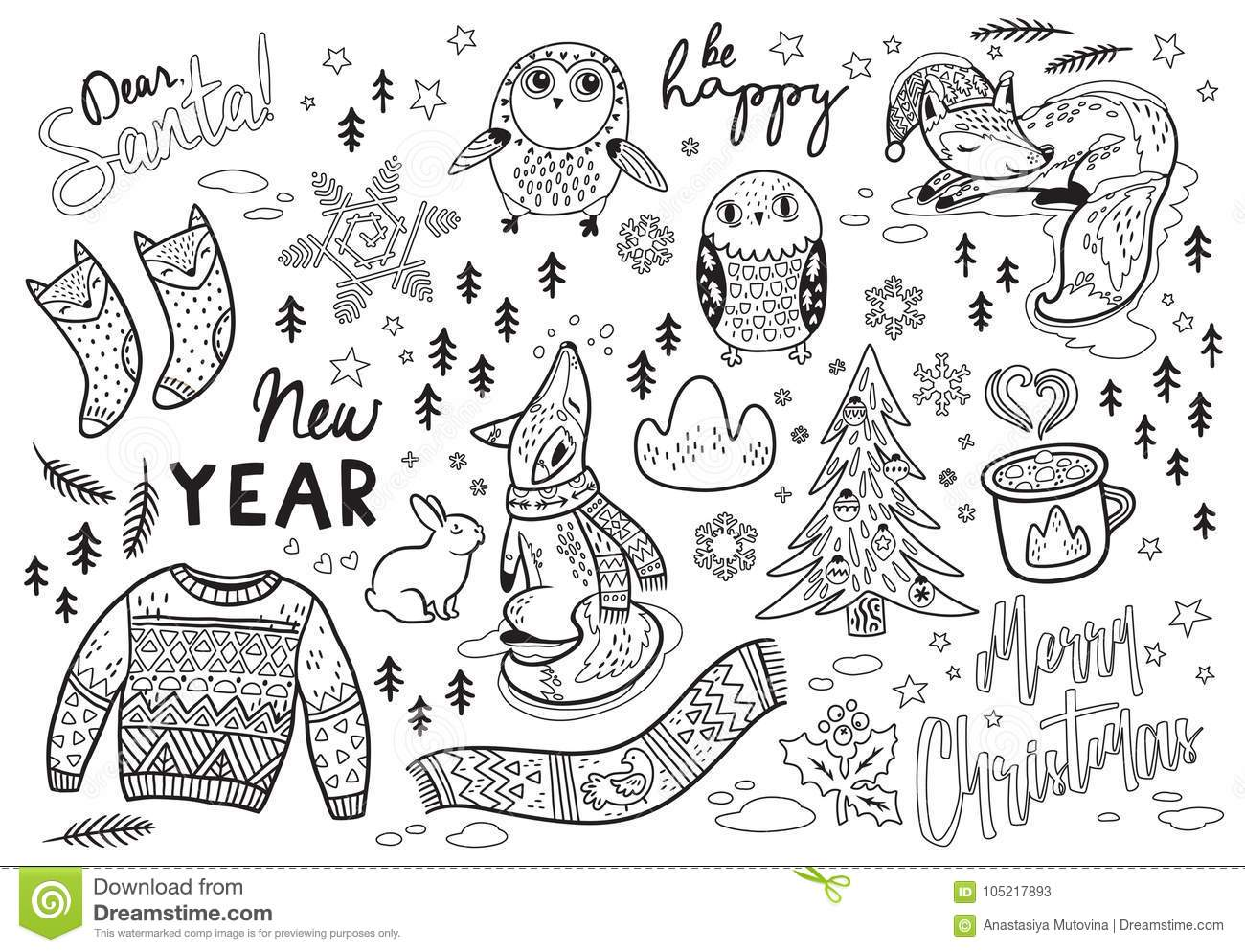 dear santa new year card with winter elements and text in outline lovely fox and owl warm scarf and sweater ideal for coloring print