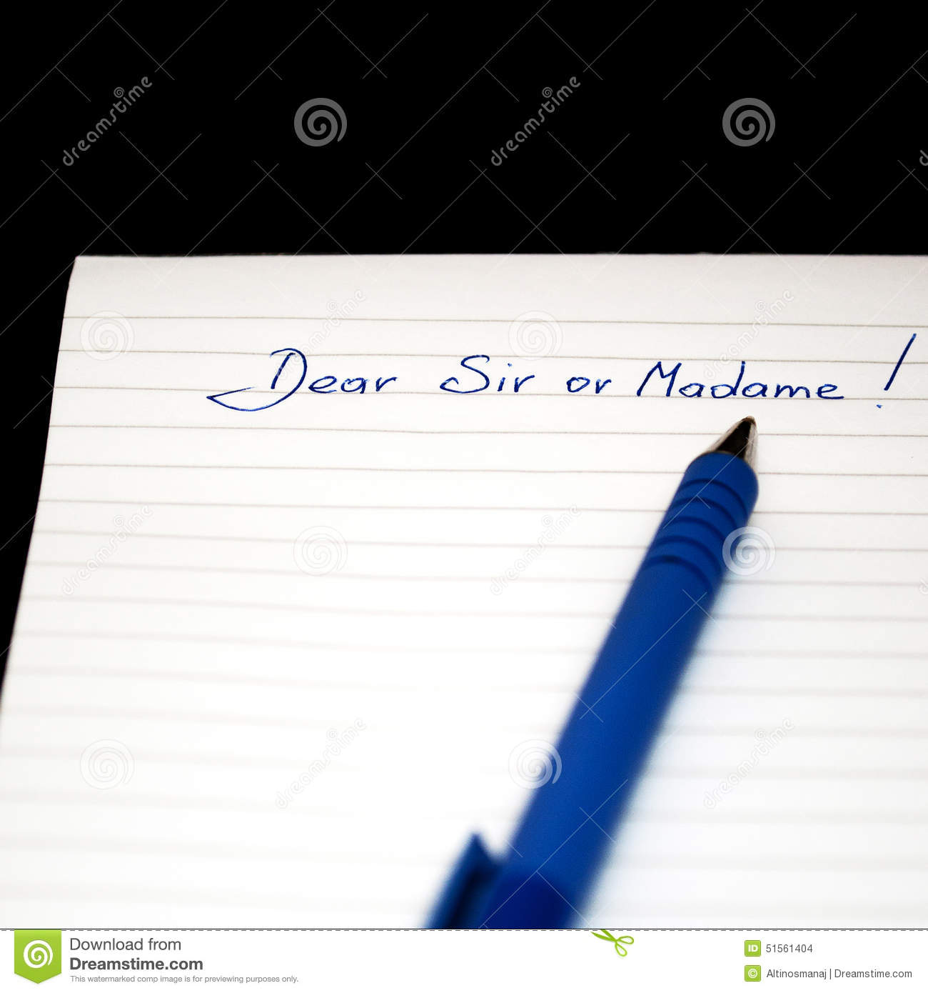 Dear Sir Or Madame Hand Written Note Letter Writing Stock Photo