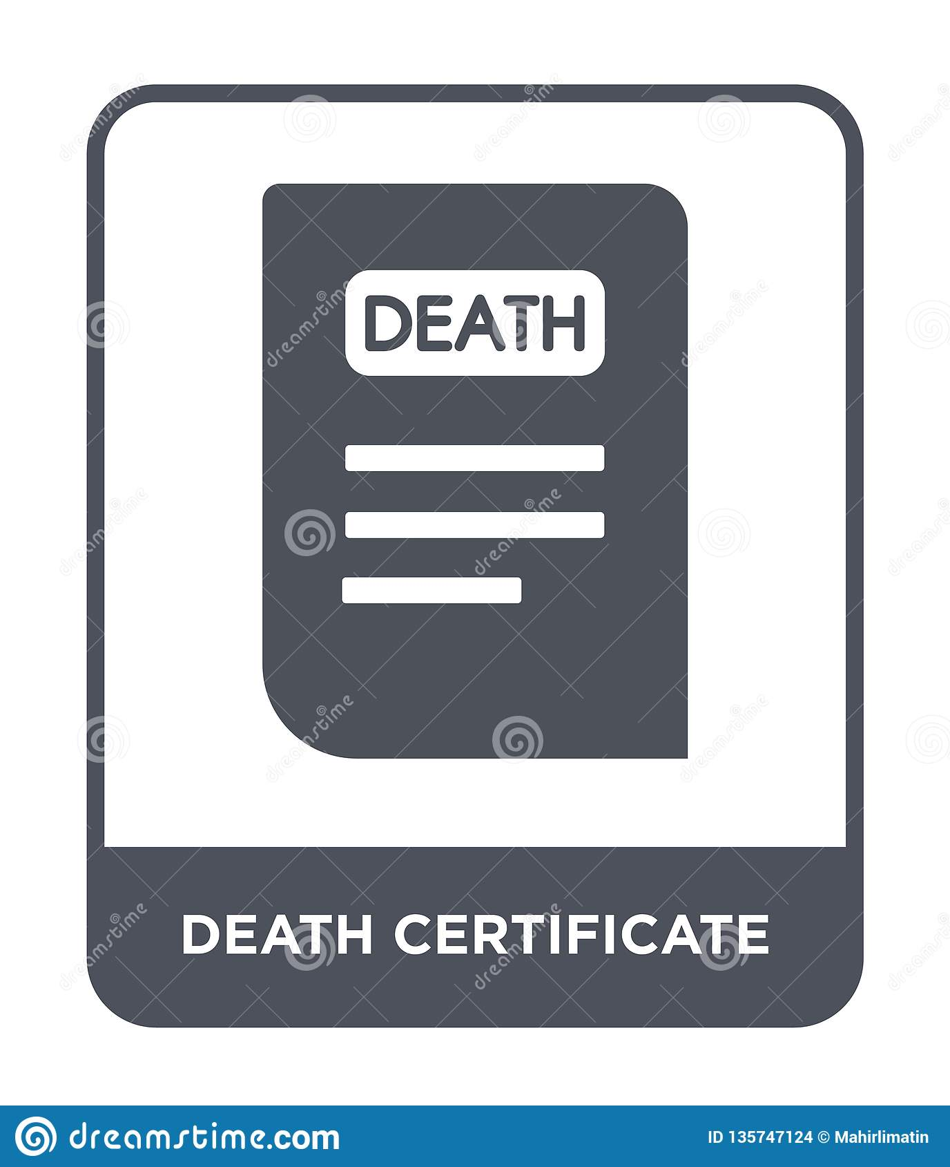 death certificate icon in trendy design style. death certificate icon isolated on white background. death certificate vector icon