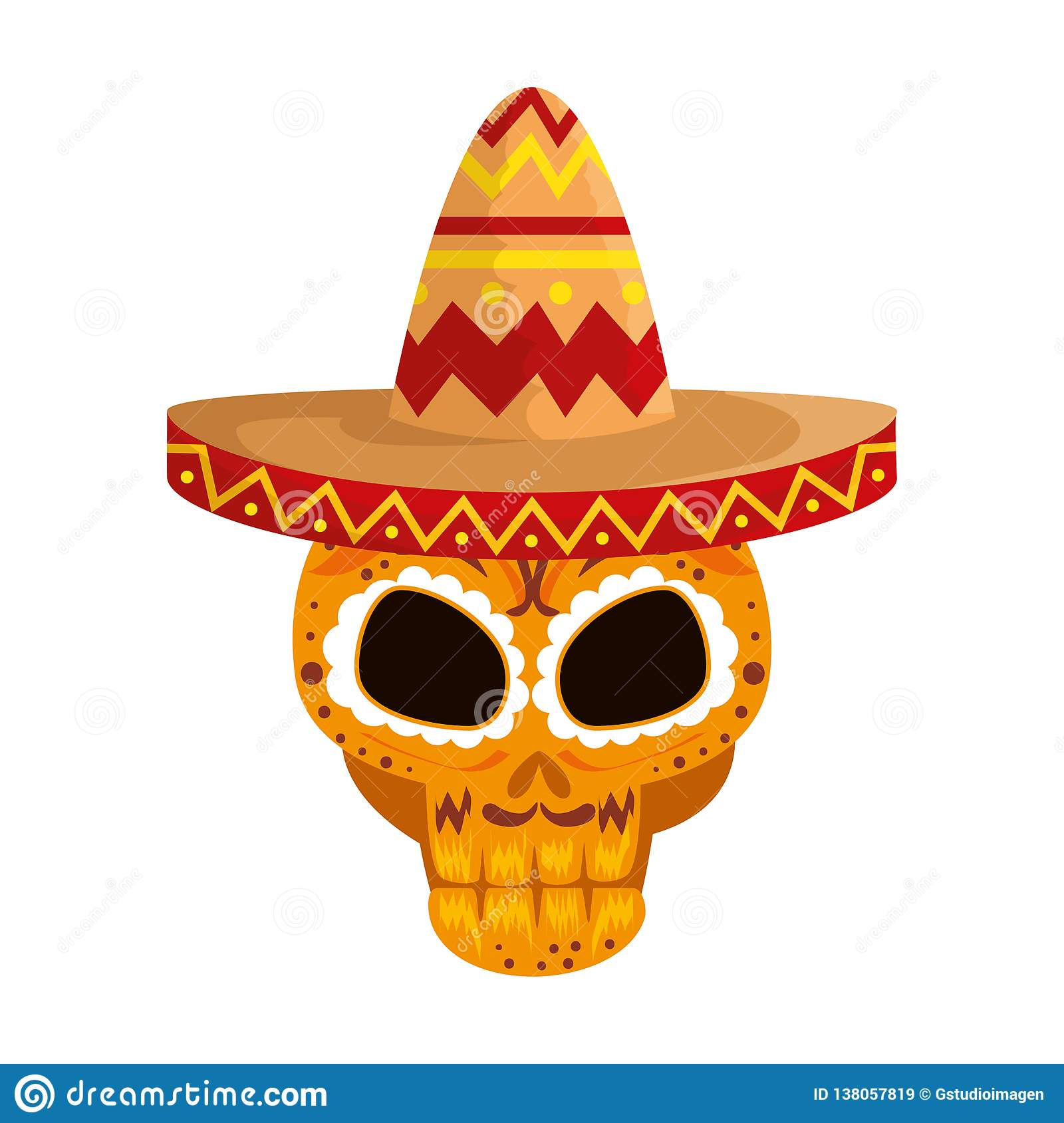 Death day mask with mariachi hat