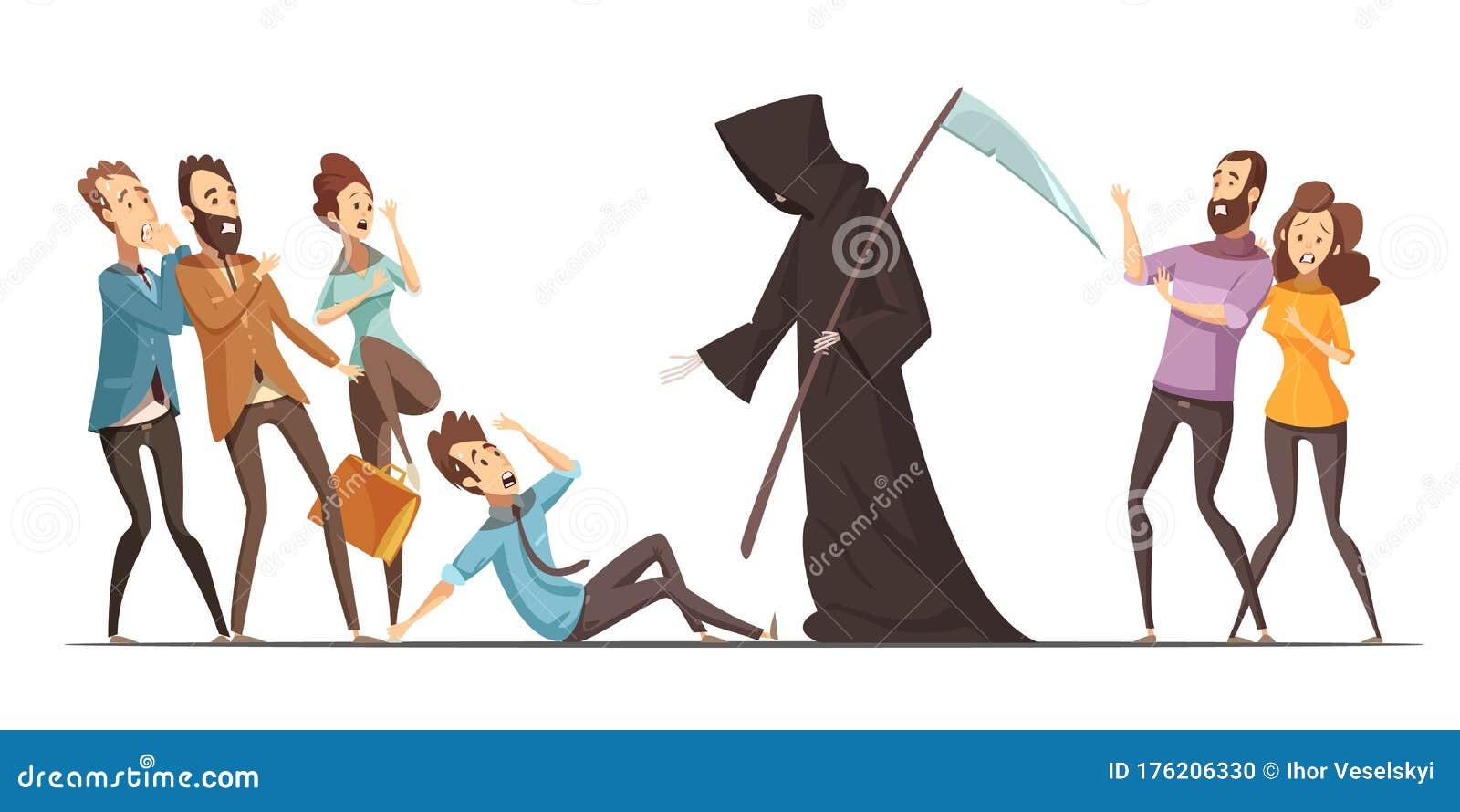 Death Fear Phobia Anxiety Cartoon Composition Stock Vector ...
