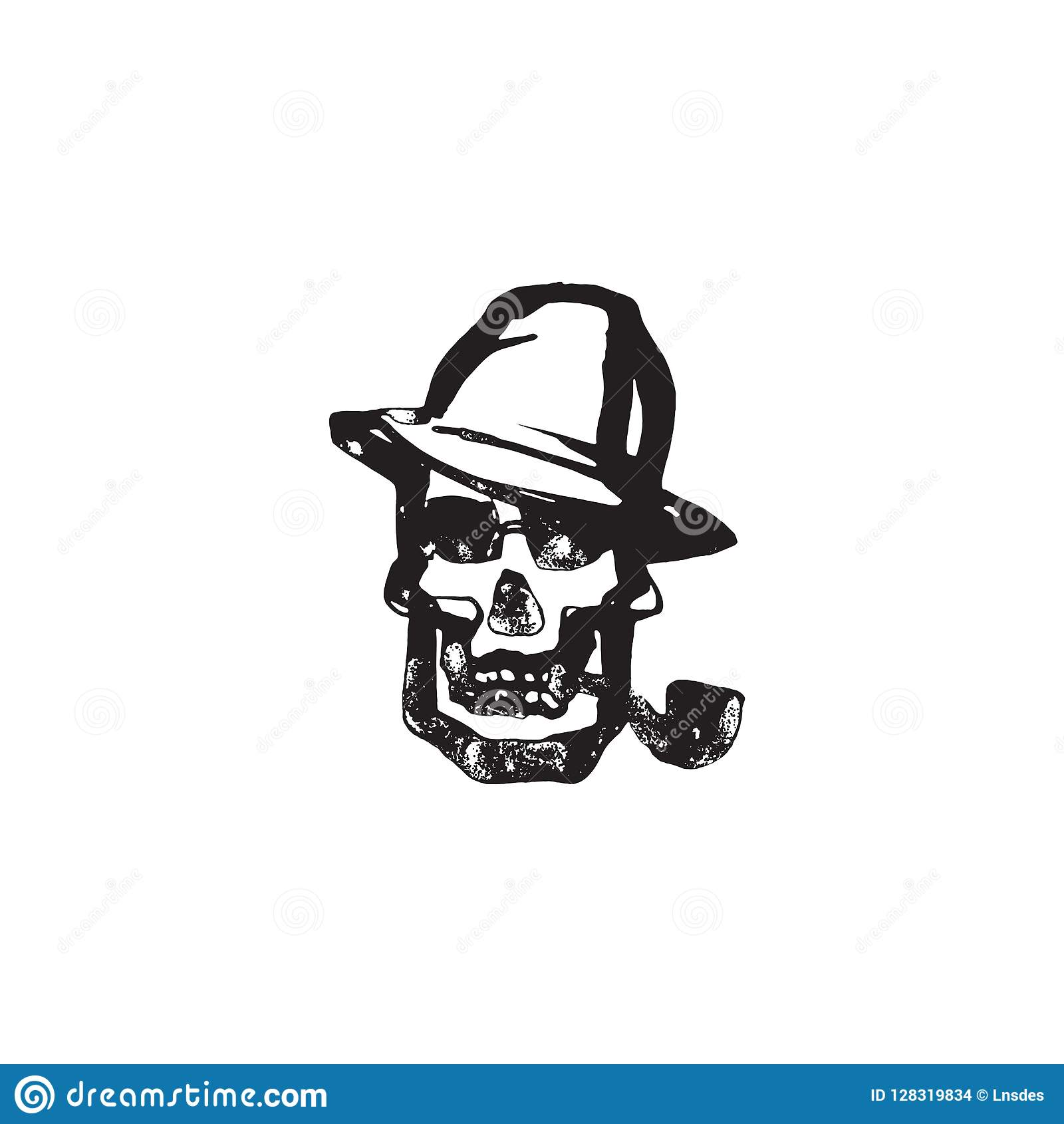 Death head with pipe and hat hand drawn human skull smoking