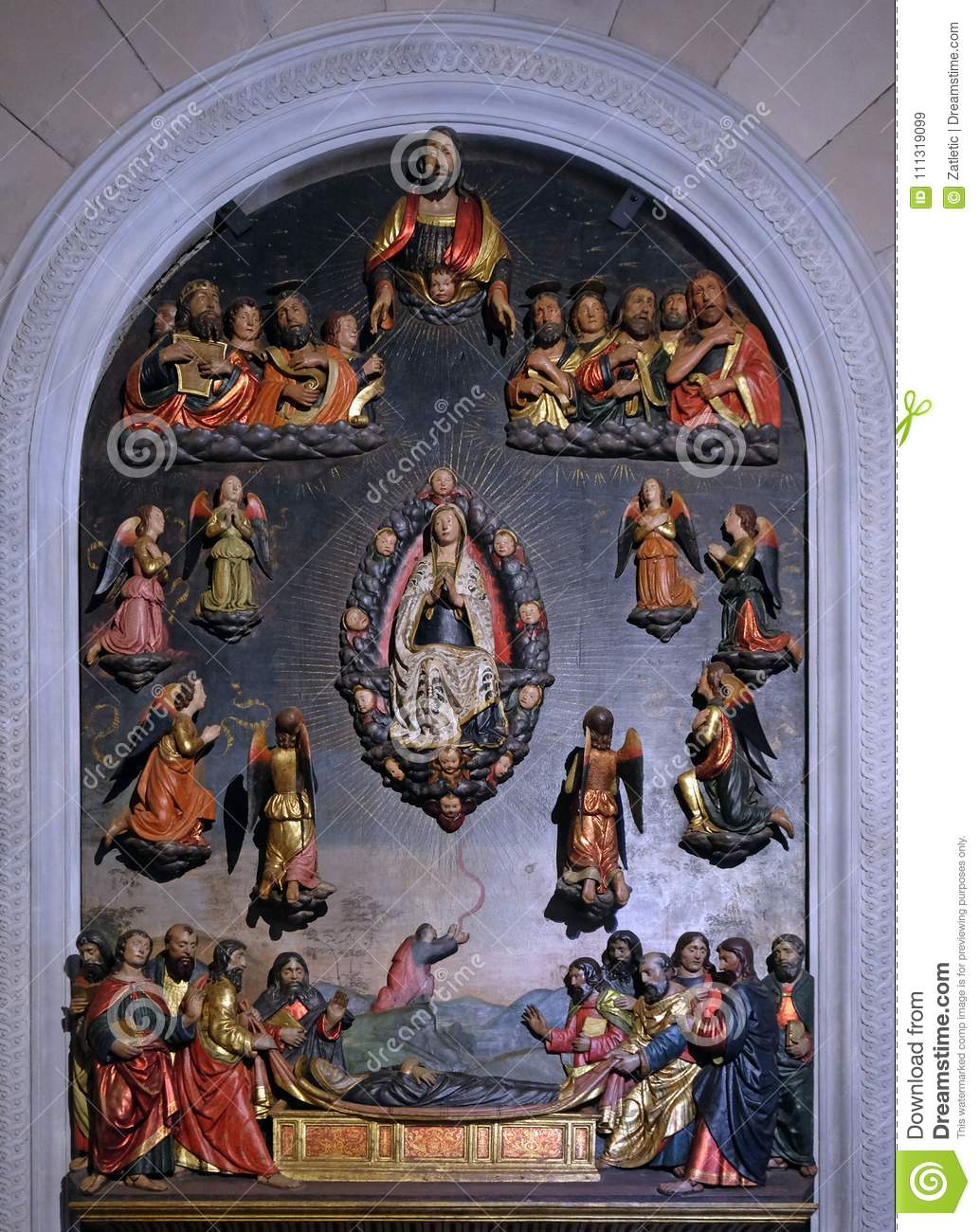 death of mary assumption and girdle of thomas stock image image