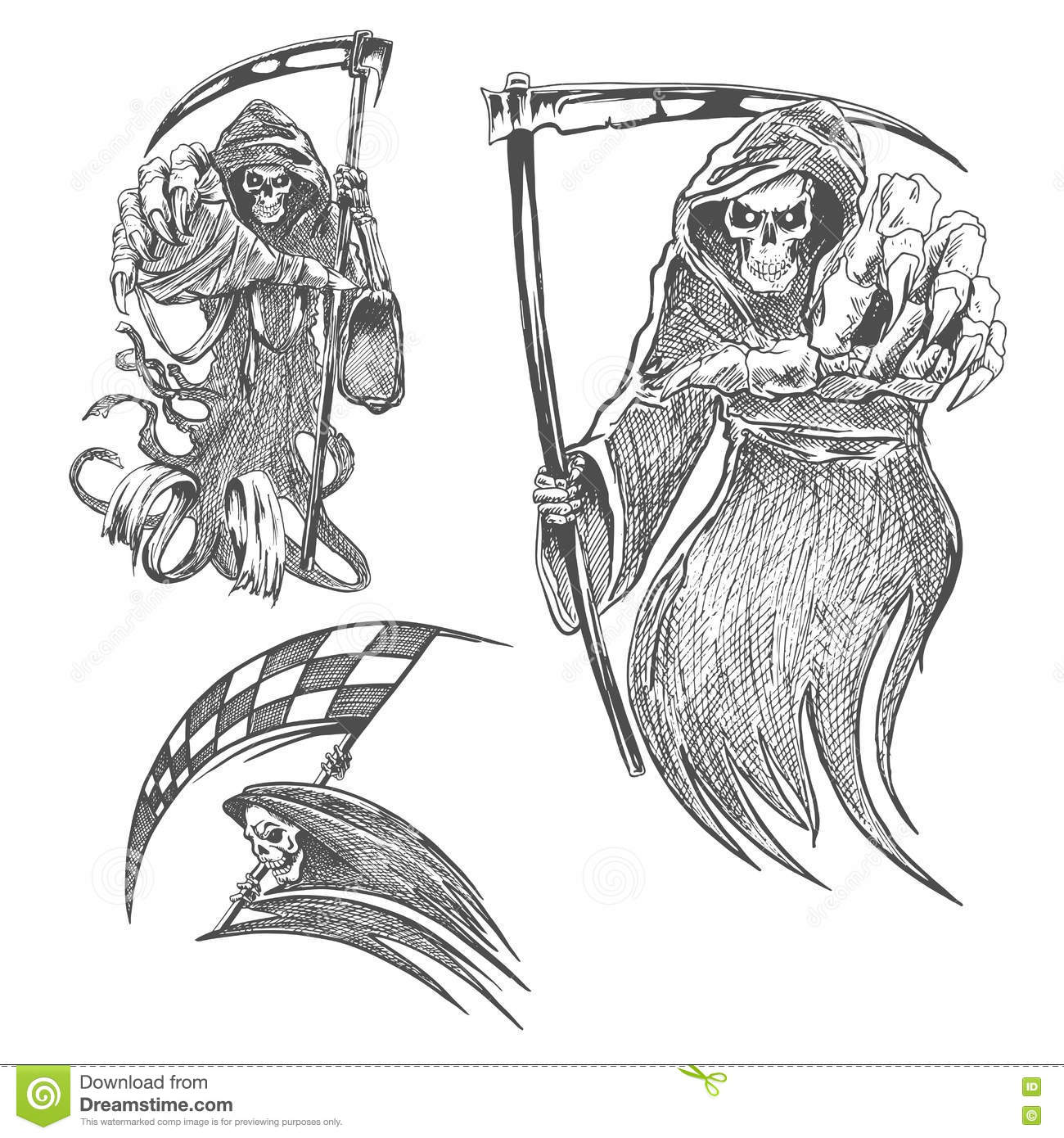 Death with scythe pencil sketch halloween vector icon gothic mortal character sketching for tattoo decoration