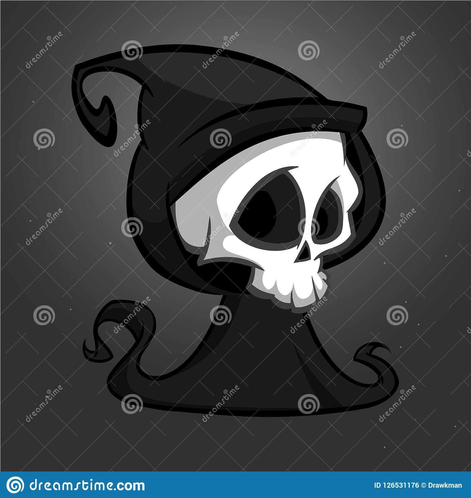 Death skeleton character suitable for Halloween, logo, religion and tattoo design.