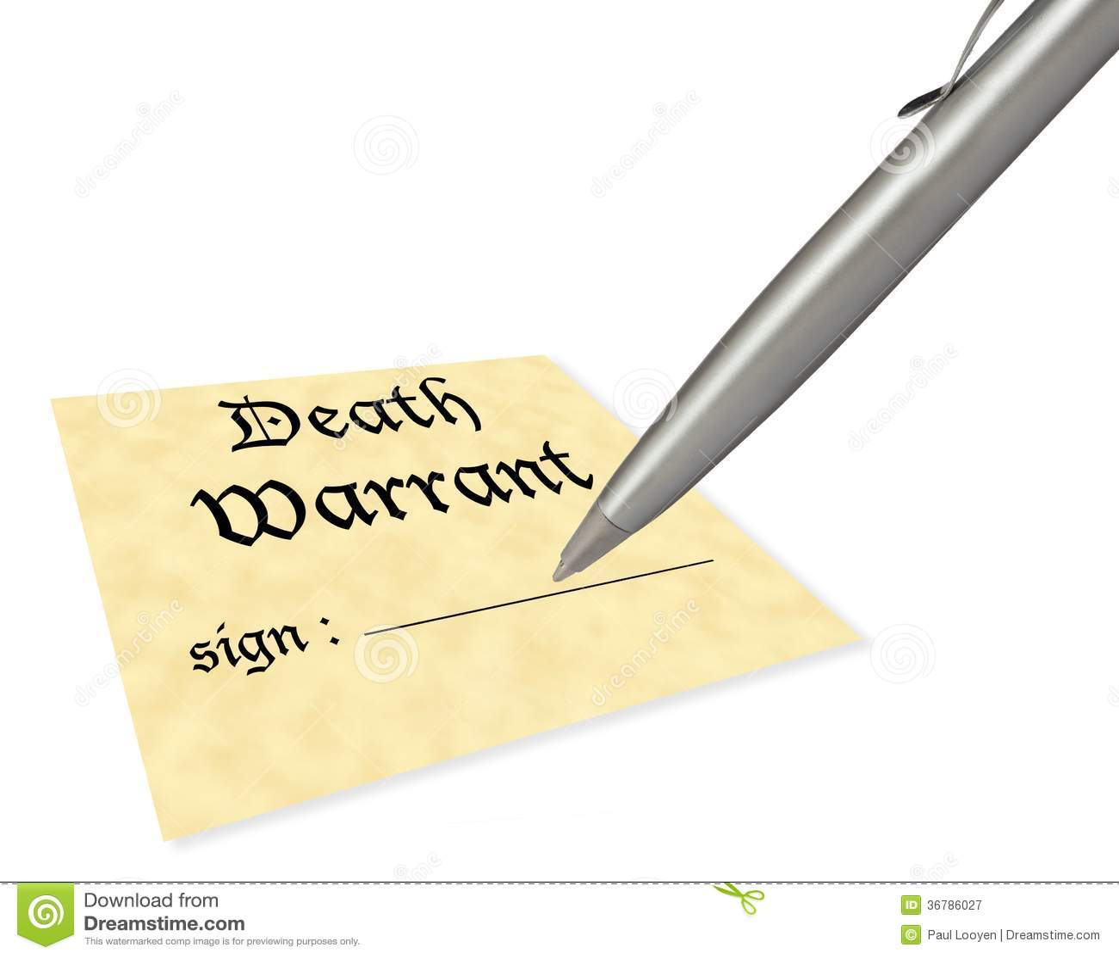 Death warrant blank